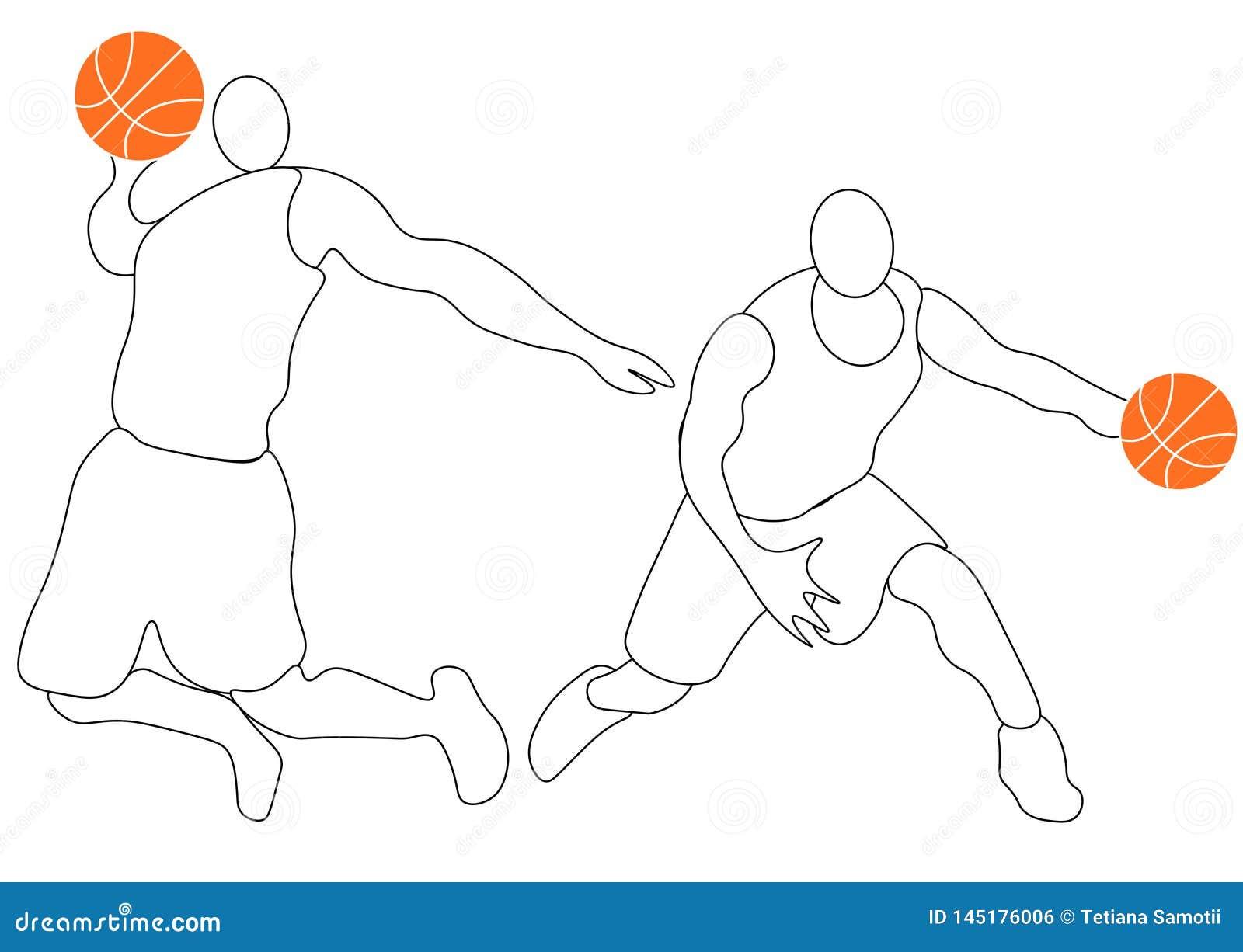 Абстрактный баскетболист с шариком от выплеска акварелей r