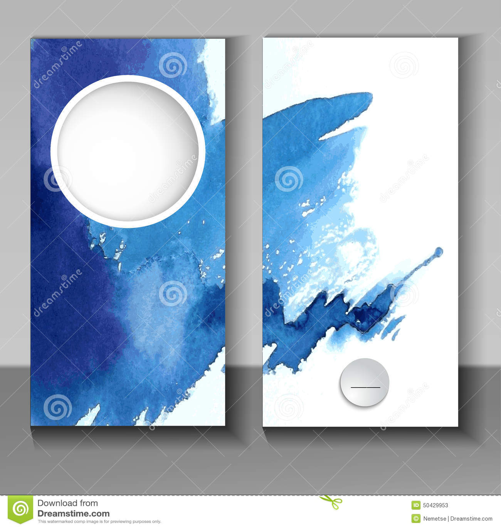 Абстрактный дизайн брошюры стиля акварели в сини