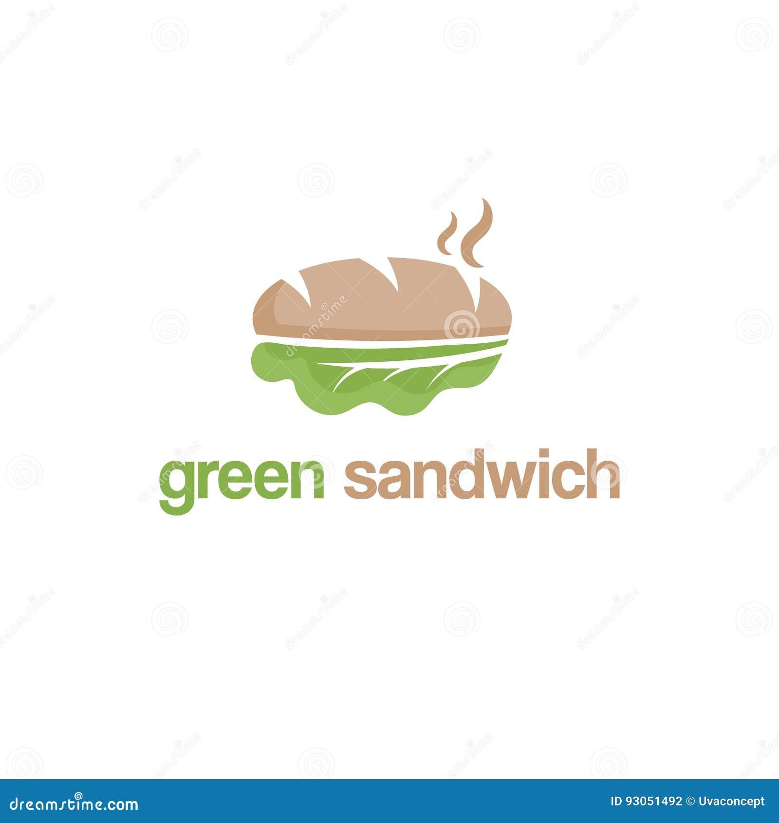 Абстрактный дизайн логотипа шаблона с зеленым сандвичем