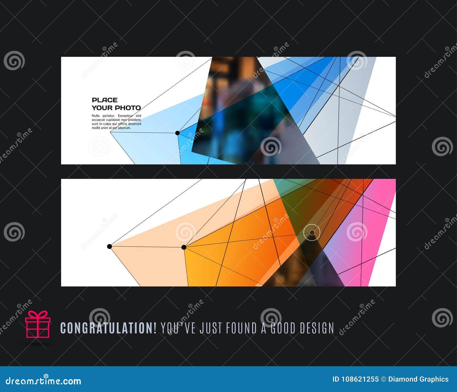 Абстрактный комплект вектора современных горизонтальных знамен вебсайта с красочным треугольником