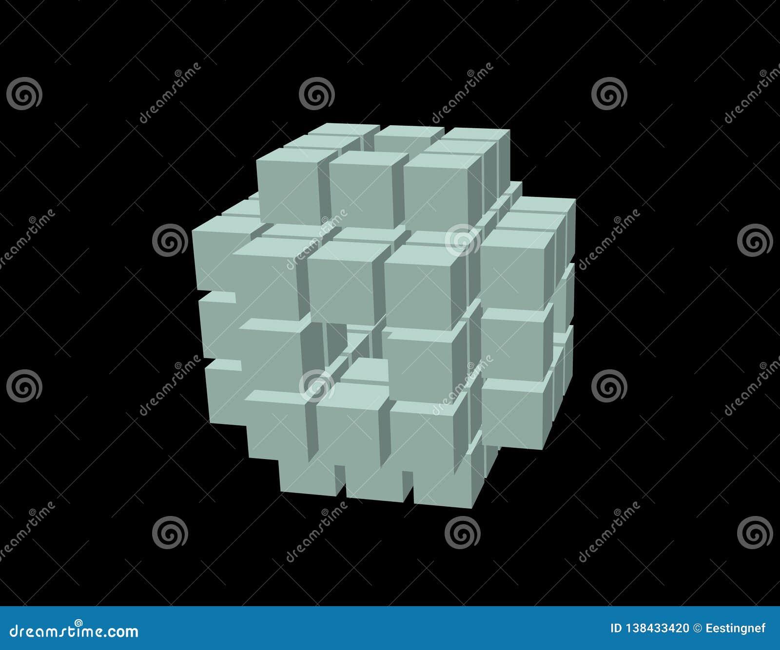 Абстрактный куб 3d от кубов Изолировано на черной предпосылке