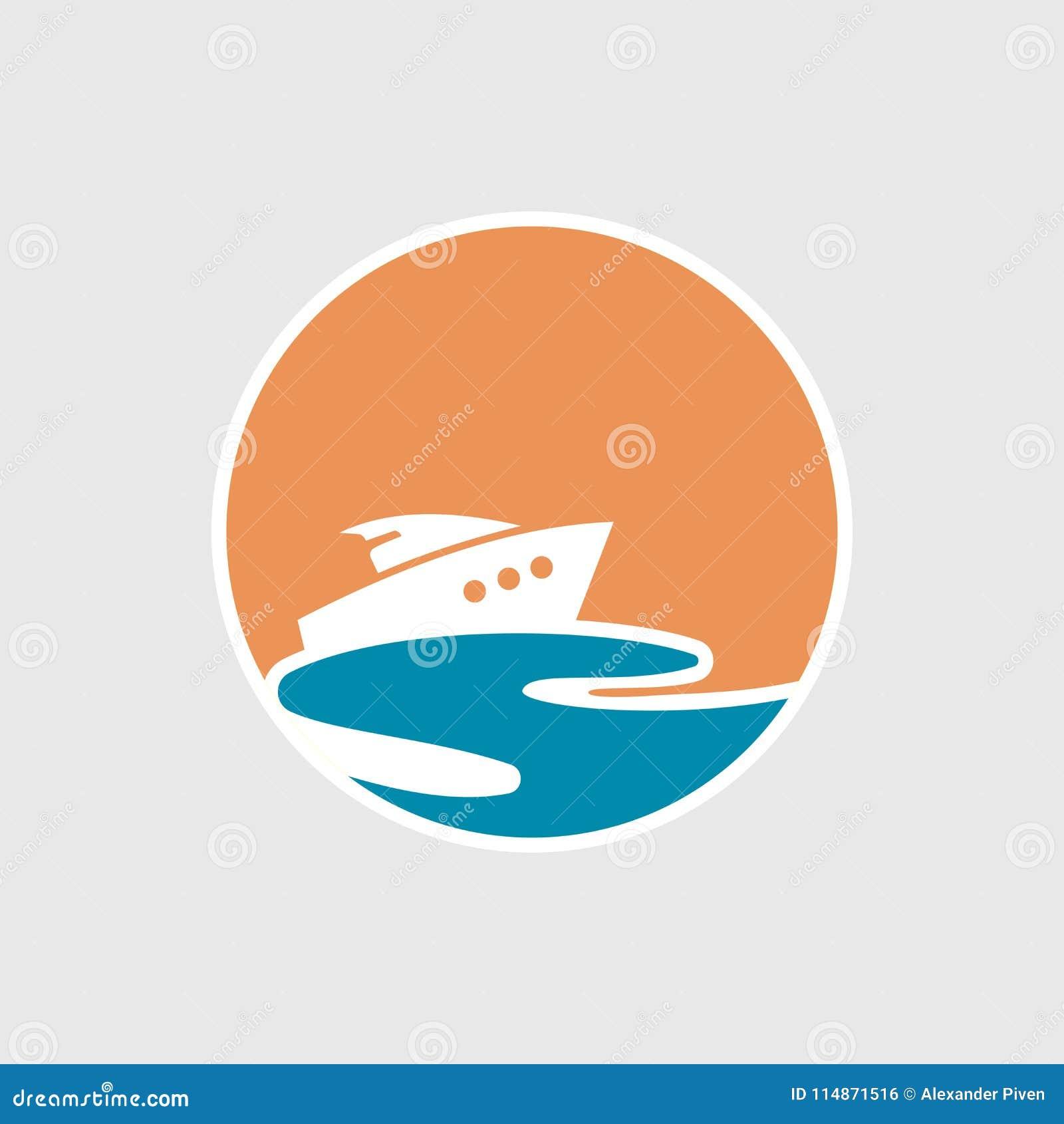 Абстрактный логотип перемещения с кораблем и океаном Значок корабля Круиз, путешествие, концепция поставки, морская шлюпка Знак т