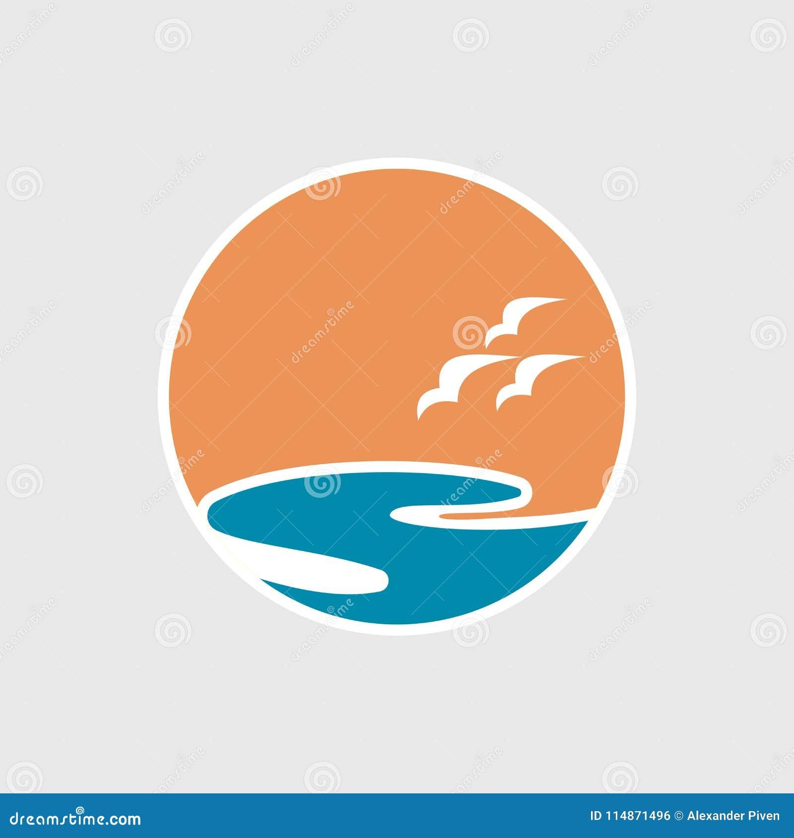 Абстрактный логотип перемещения с логотипом океана с волнами и чайками Круиз, путешествие, концепция поставки,