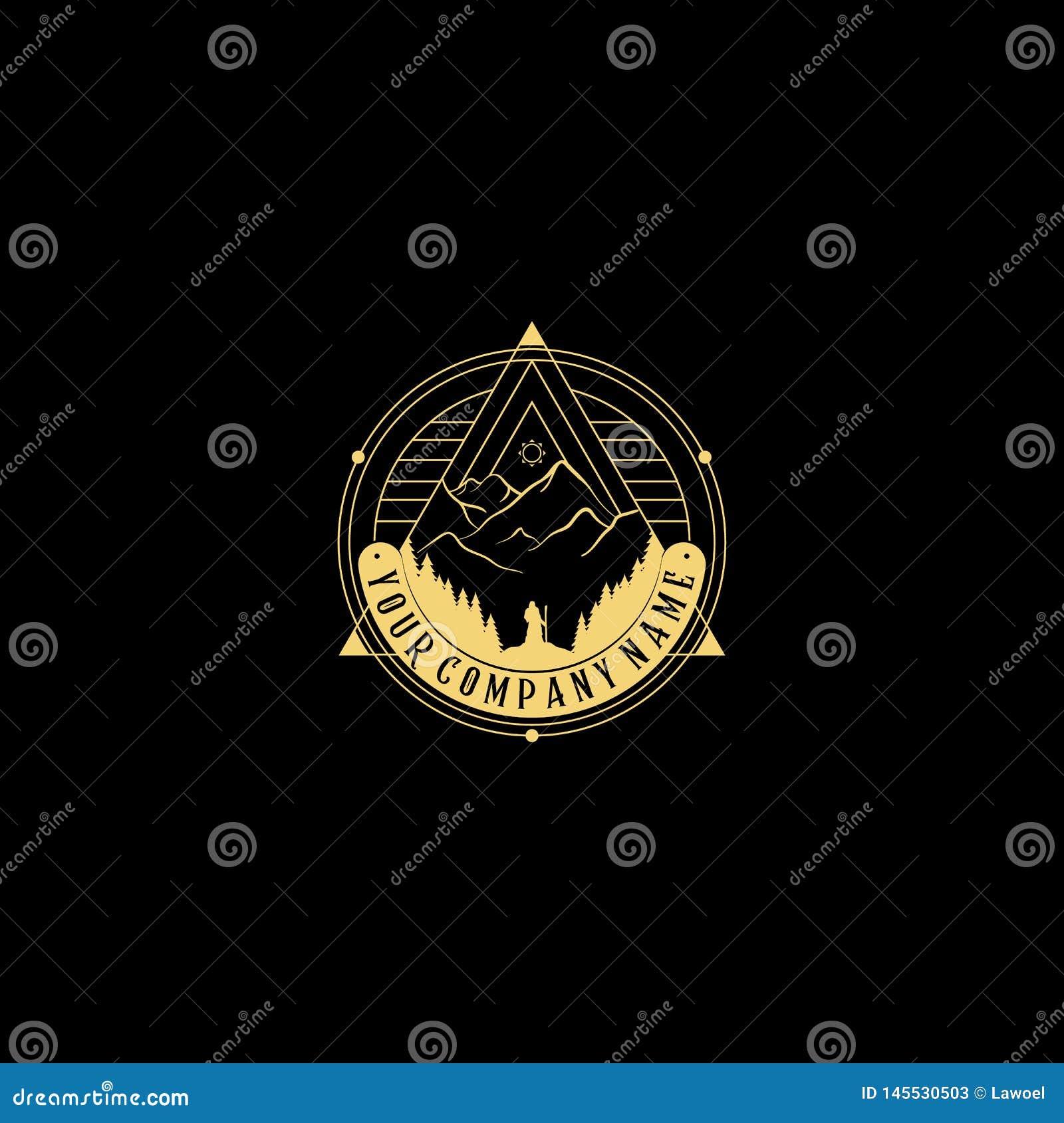 Абстрактный логотип природы Значок вектора геометрический Священный алхимический символ Значок абстрактных форм, piramyd плана -