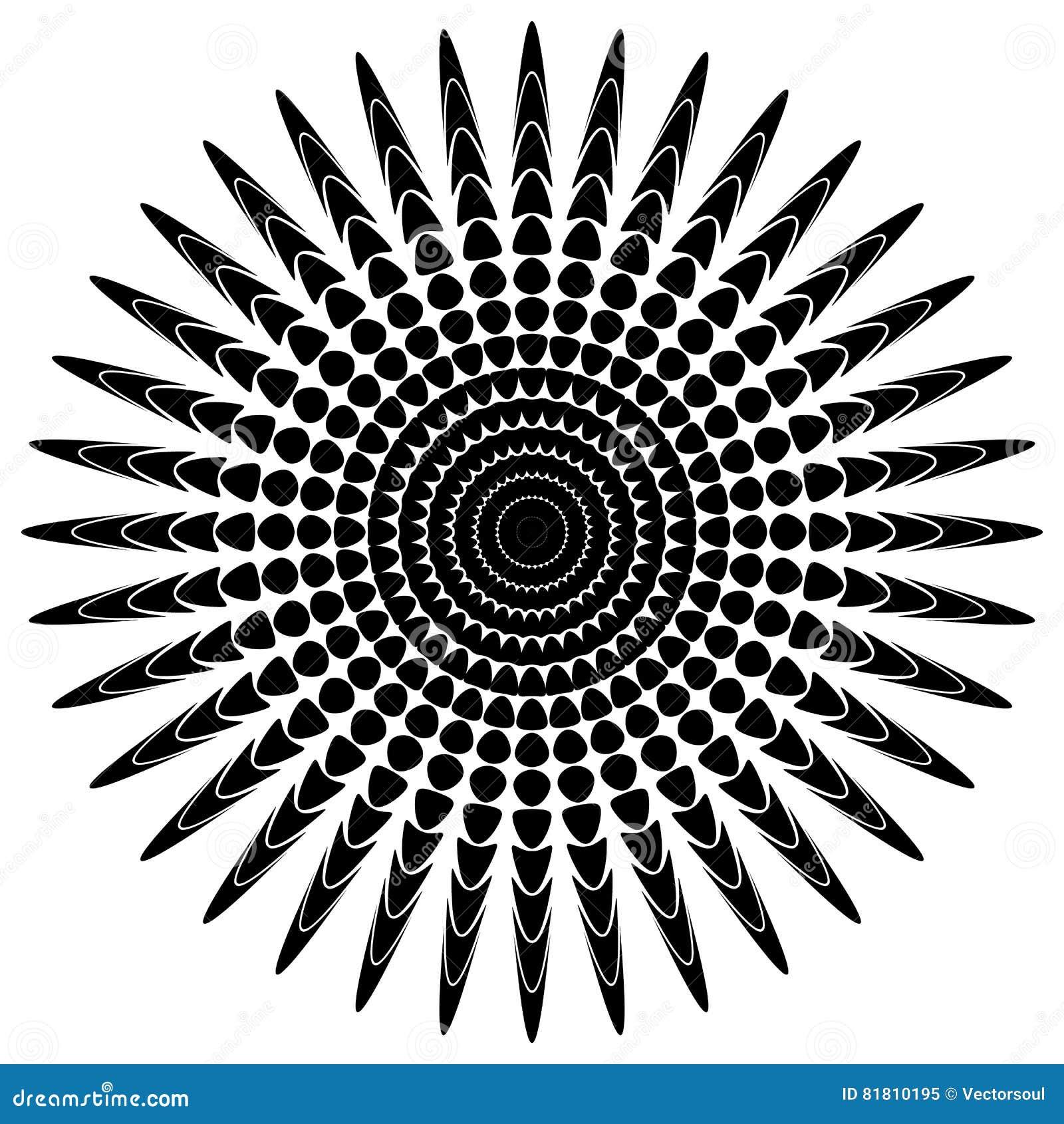 Абстрактный мотив излучать, концентрический monochrome элемент на белизне