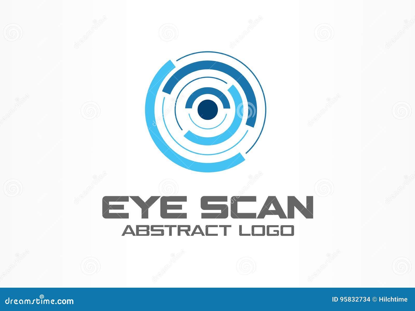 Абстрактный логотип для деловой компании Элемент дизайна фирменного стиля Блок развертки круга сетчатки, глаз личности