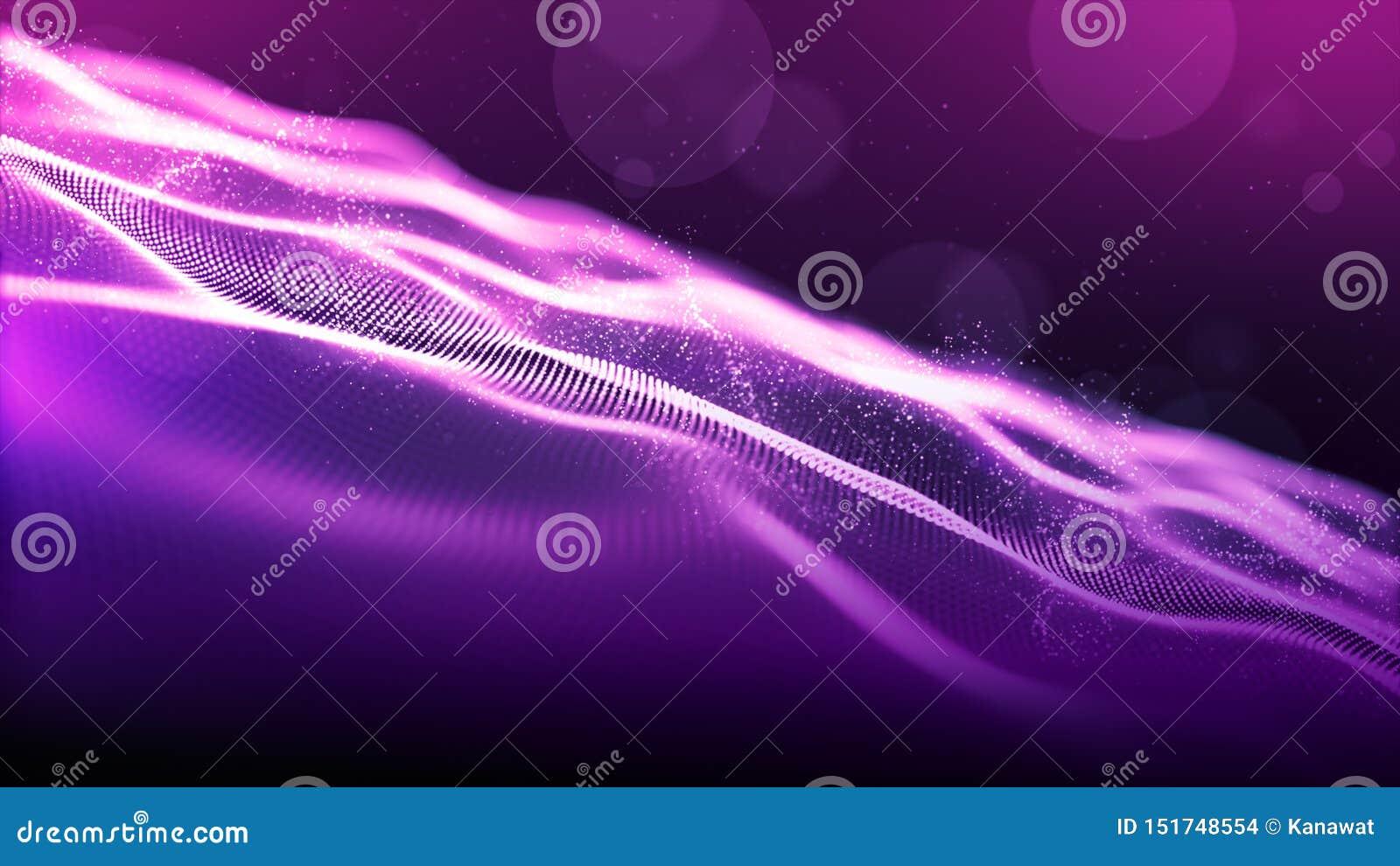 Абстрактный пурпурный цвет цифровое кибер размечает частицы развевает с bokeh и светлой предпосылкой