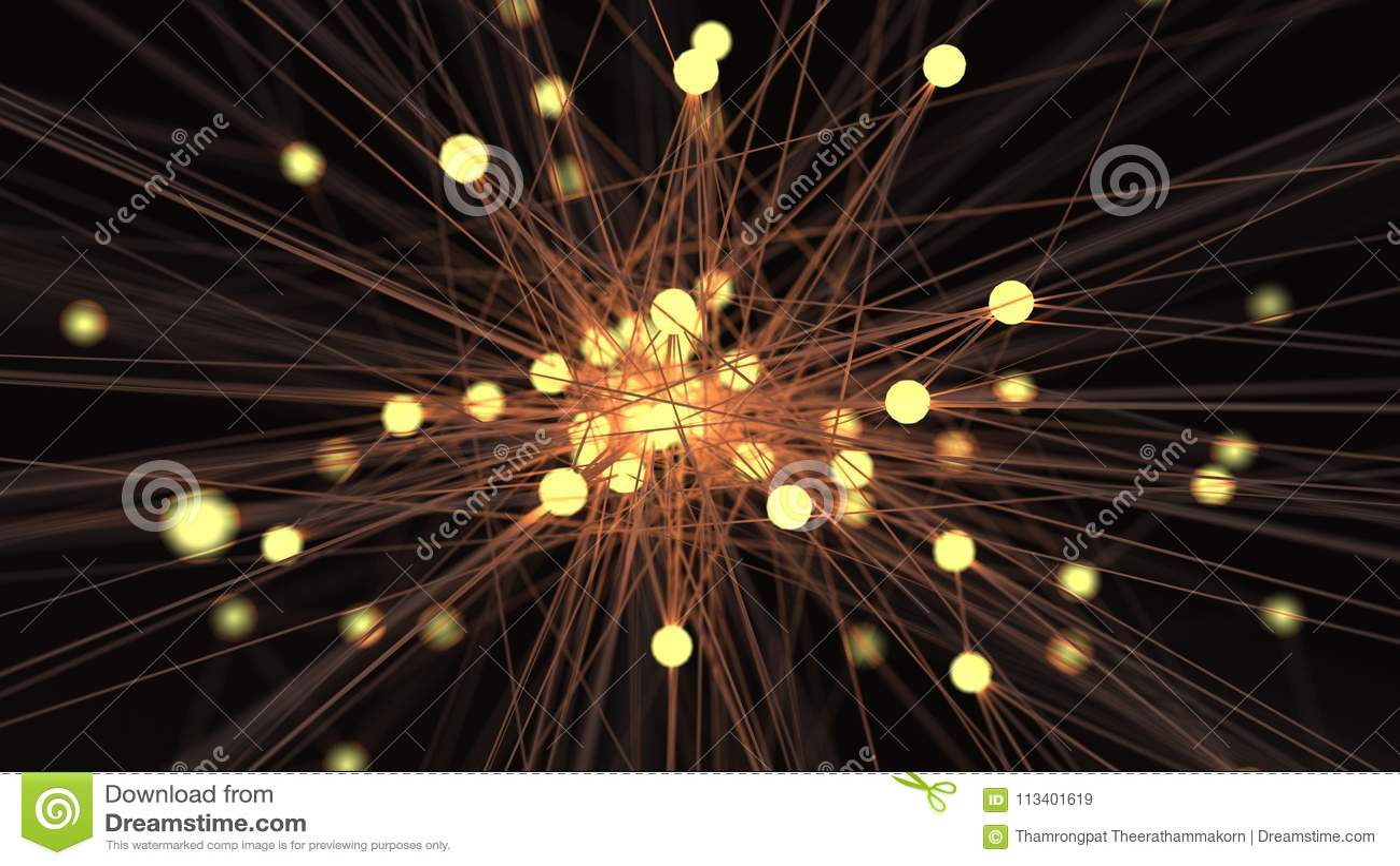 Абстрактный сетевой узел технологии шарика желтого света футуристический C