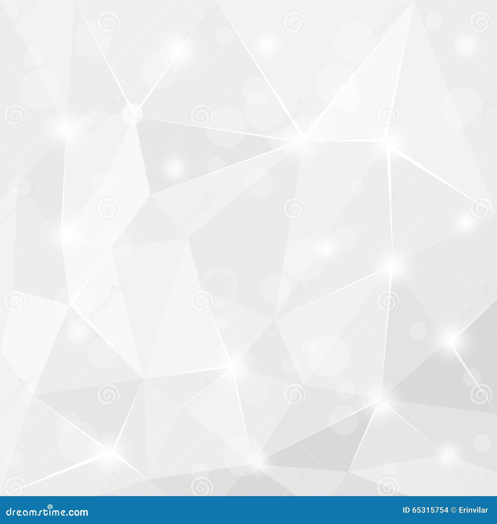 Абстрактный сияющий полигональный геометрический белый серый и серебряный дизайн обоев предпосылки