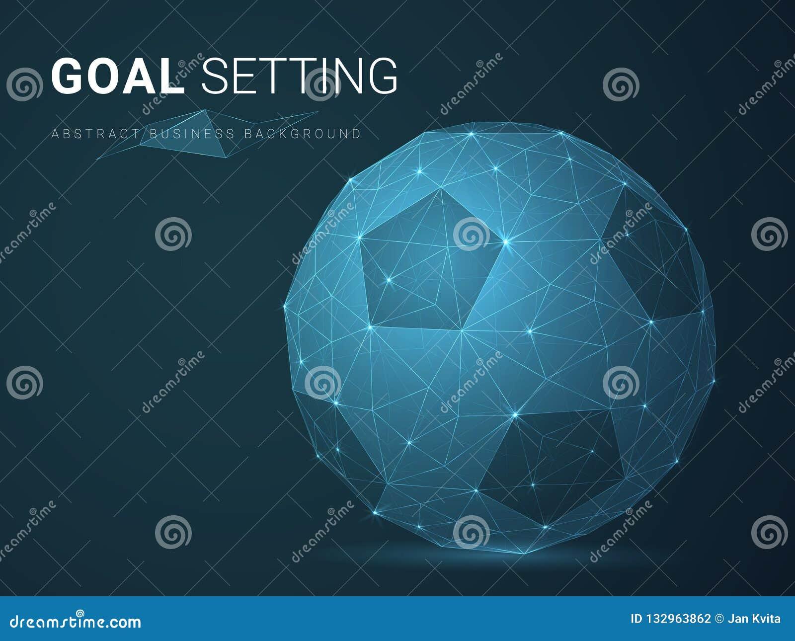 Абстрактный современный вектор предпосылки дела показывая установку цели со звездами и линиями в форме футбола на голубой предпос