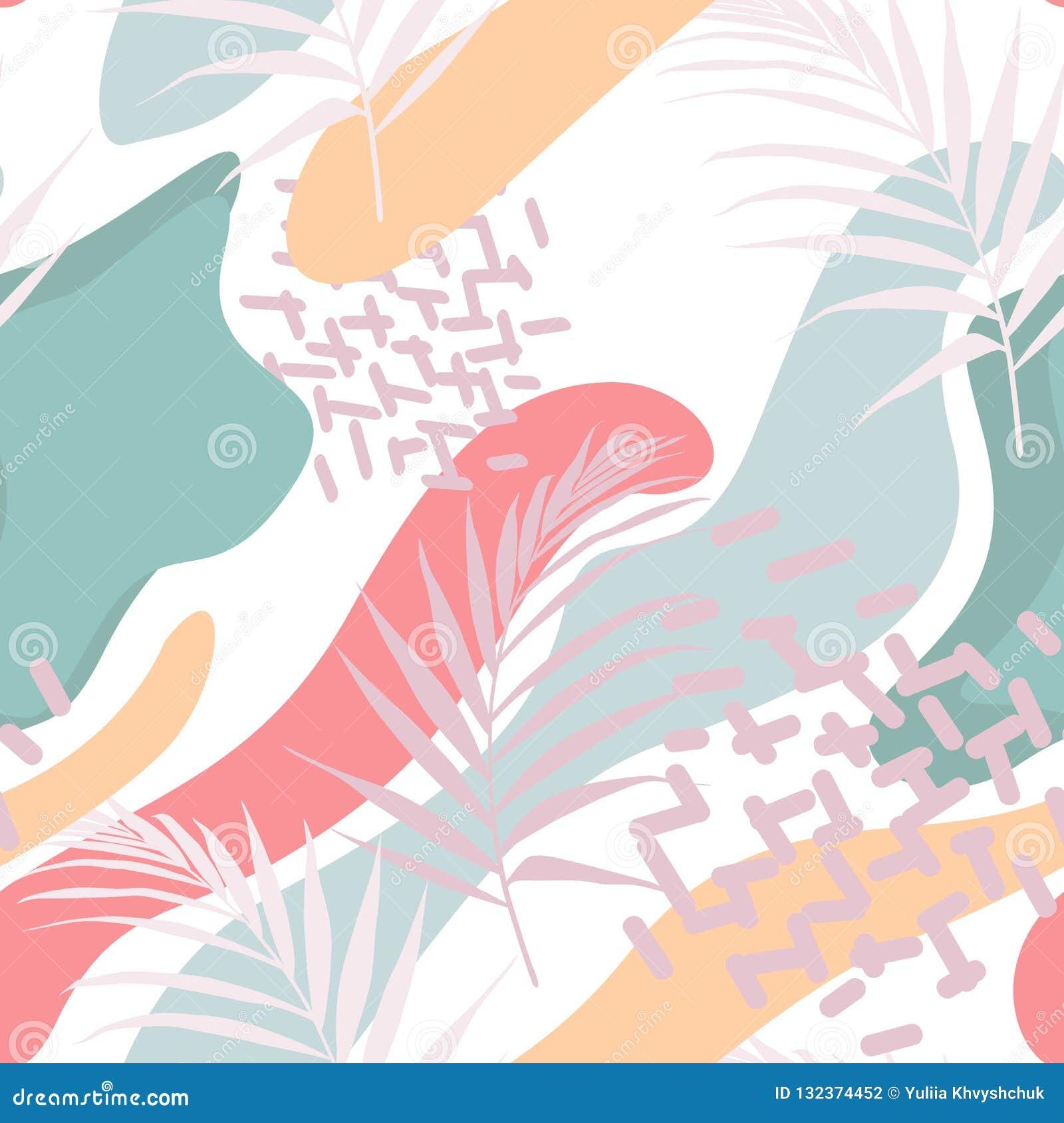 Абстрактный флористический элемент, бумажный коллаж Иллюстрация вектора нарисованная рукой