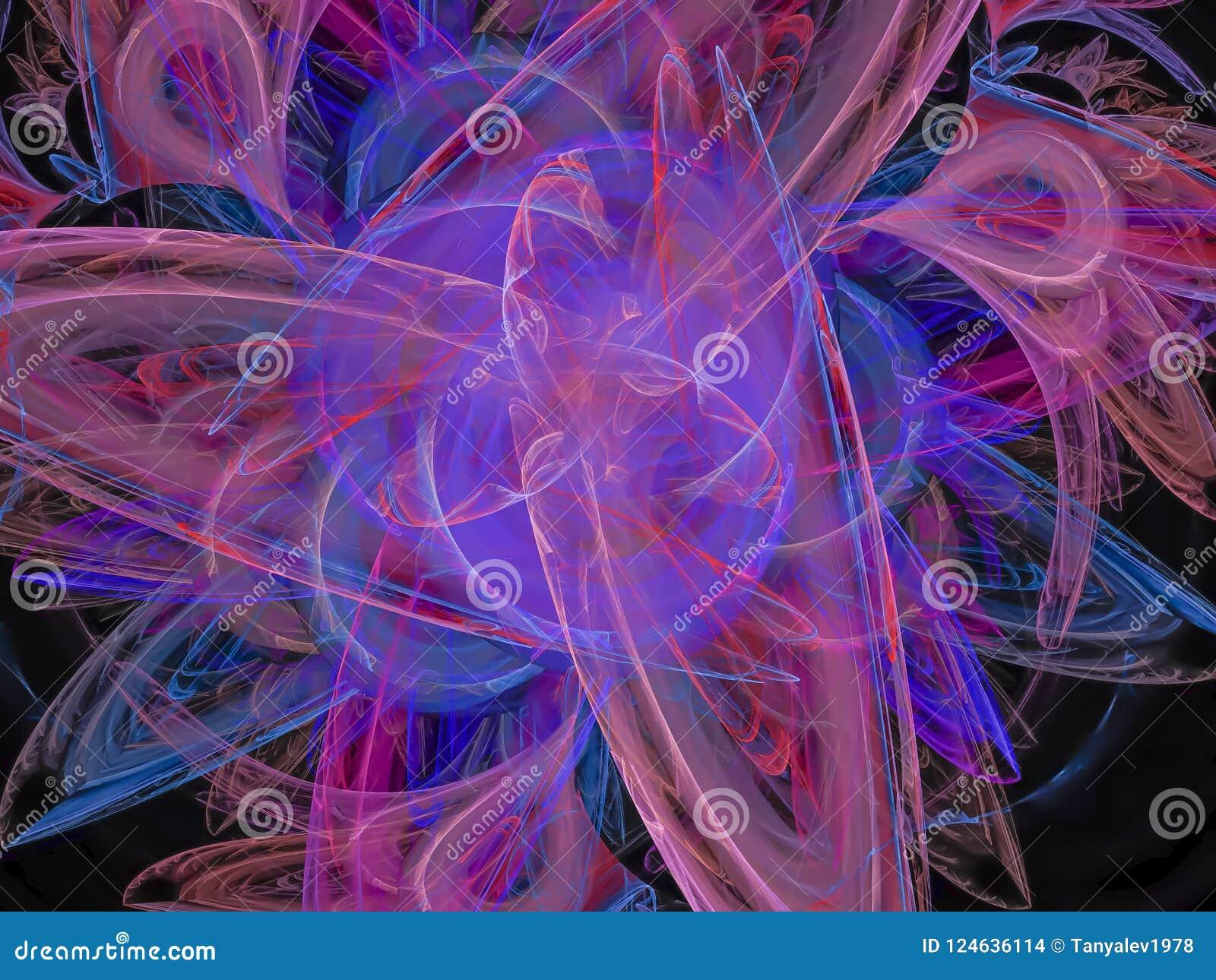 Абстрактный цвет фрактали, цифровая художническая энергия шаблона подачи движения фантазии