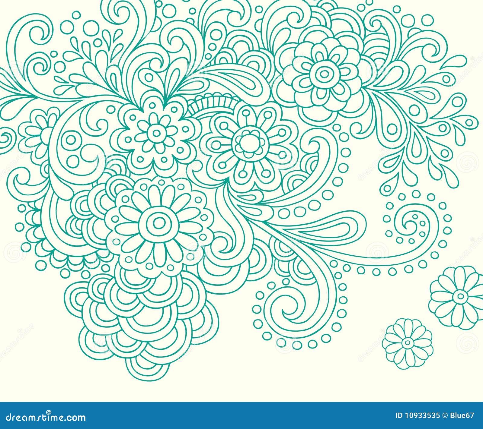 абстрактный doodle цветет вектор хны