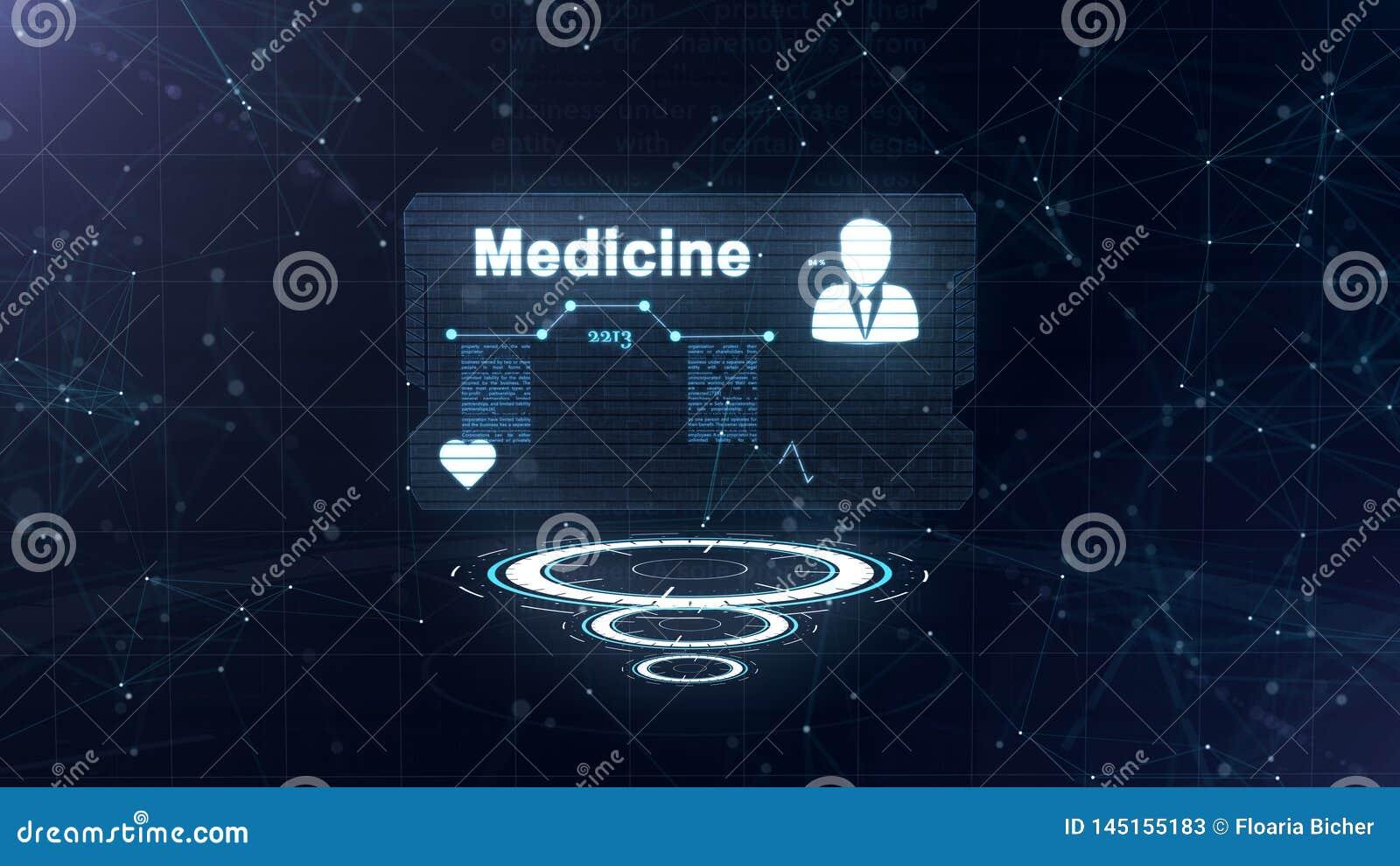 Абстрактный hologram Карта медицины с главными съемкой и знаком тарифа сердца, давления и некоторых других диаграмм Абстрактная с