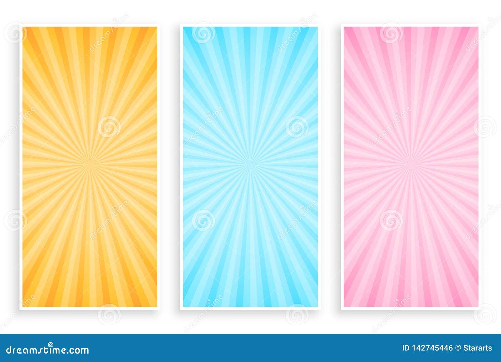 Абстрактный sunburst набор знамени лучей