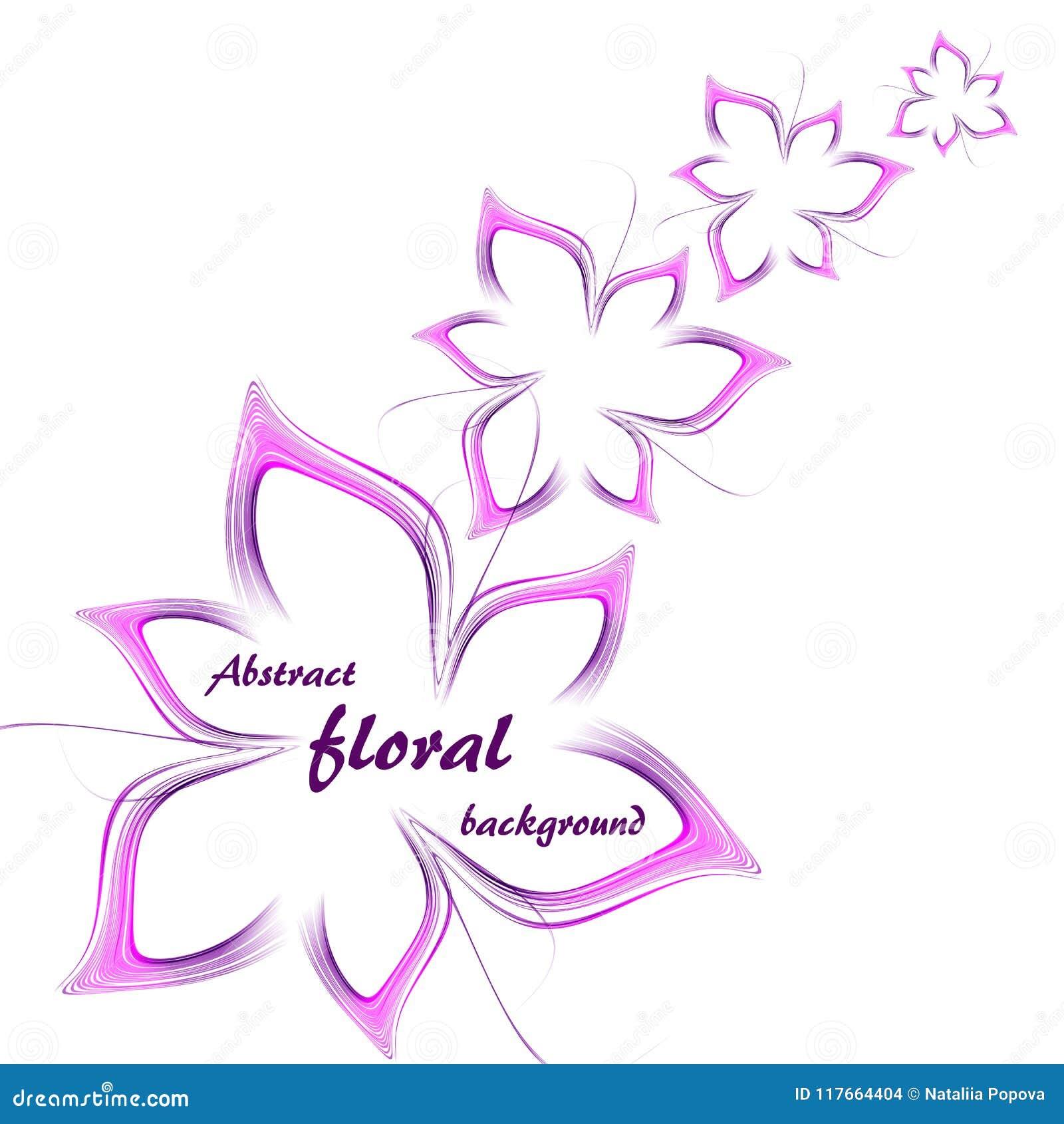 4 абстрактных цветка в фиолетовом и розовом на белой предпосылке
