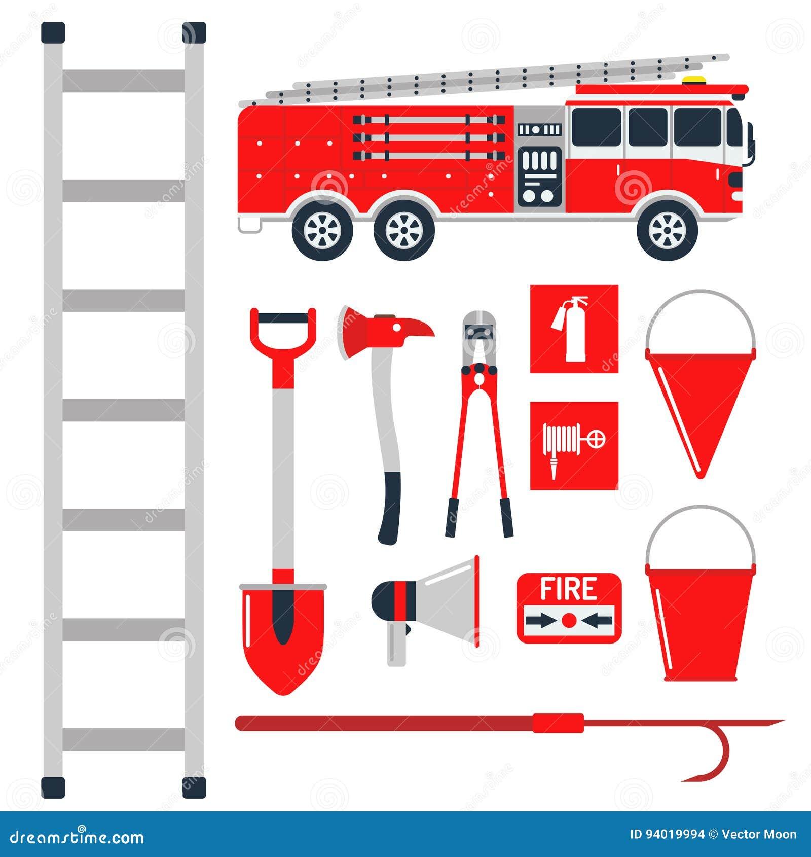Аварийная ситуация оборудования пожарной безопасности оборудует иллюстрацию вектора предохранения от аварии опасности пожарного б