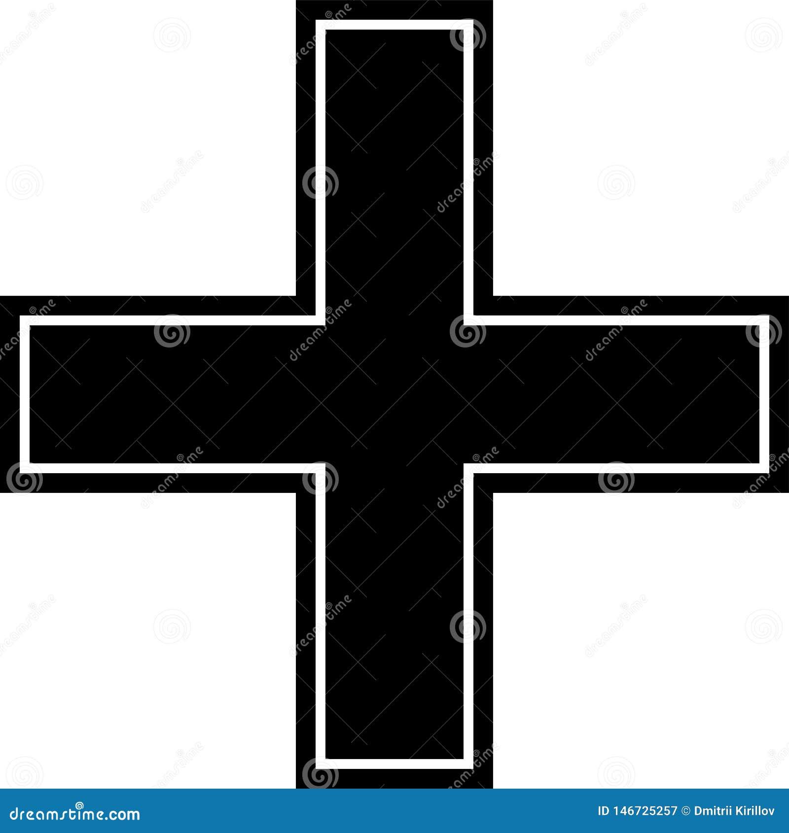 Аварийный, перекрестный, красный, черный, рамка & frameless значок изолированные на белой предпосылке