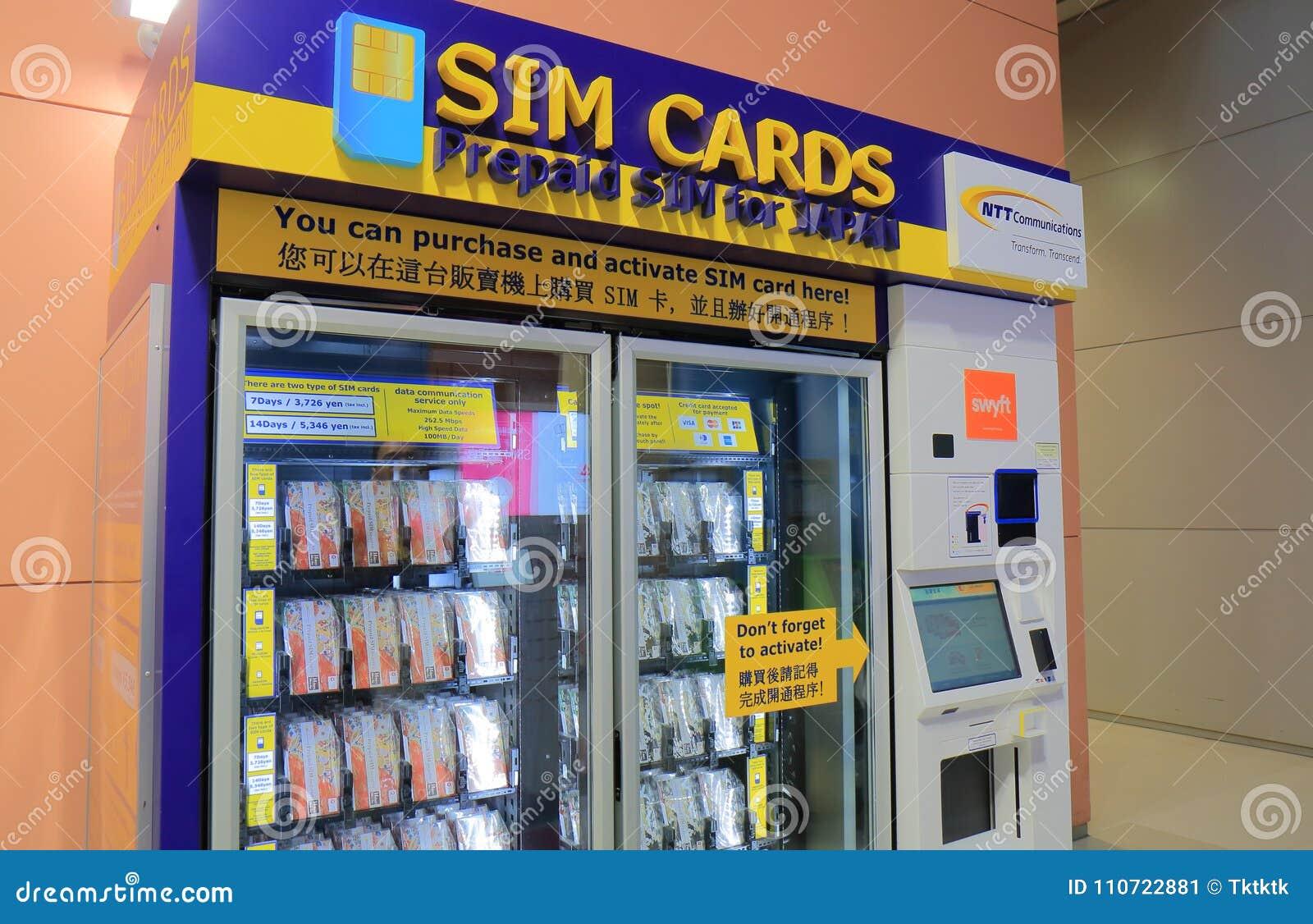 Авиапорт Kanasai торгового автомата карточки Sim в Осака Японии