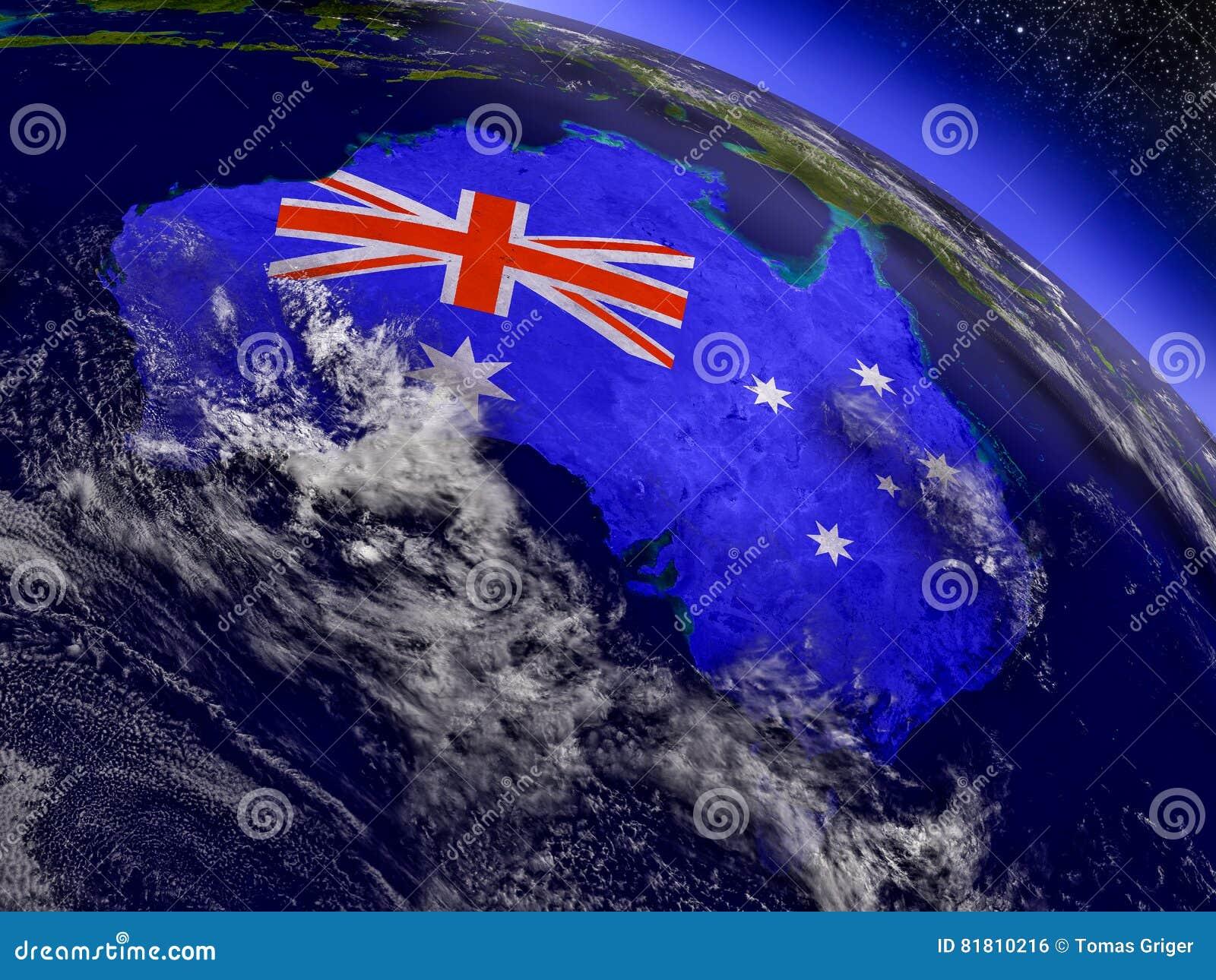 Австралия с врезанным флагом на земле