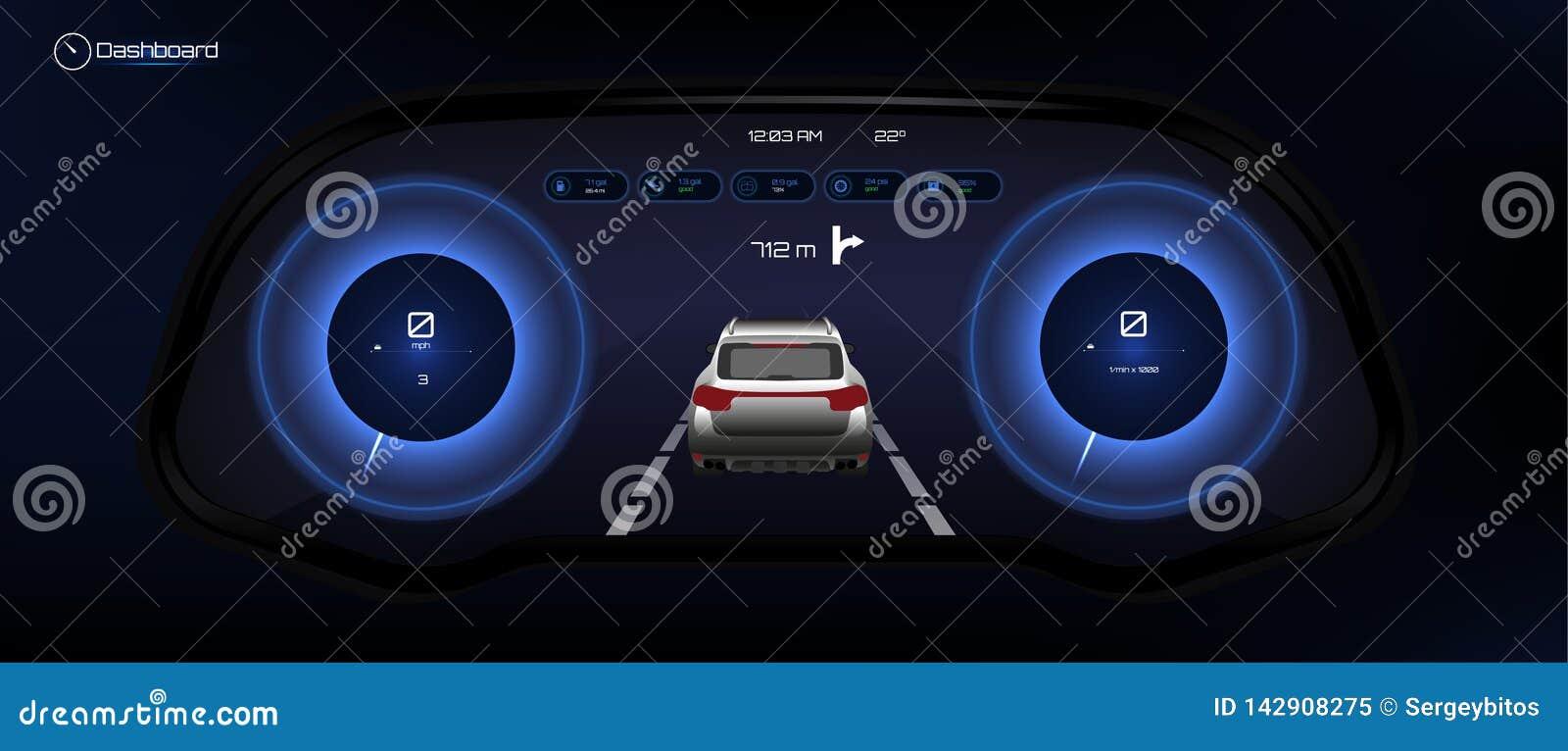 Автомобильная приборная панель, футуристический стиль