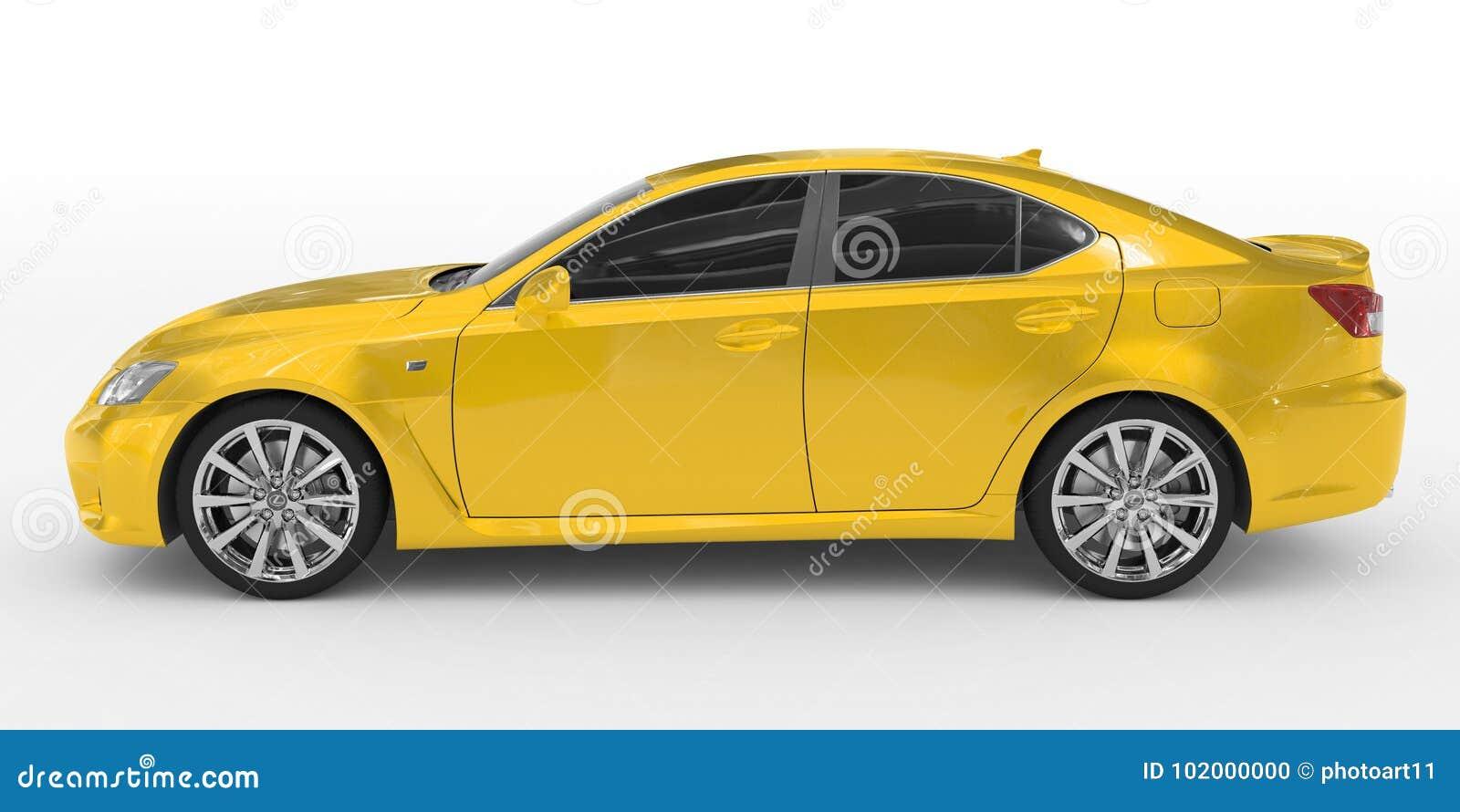 Автомобиль изолированный на бело- желтой краске, подкрашиванном стекле - левой стороне v