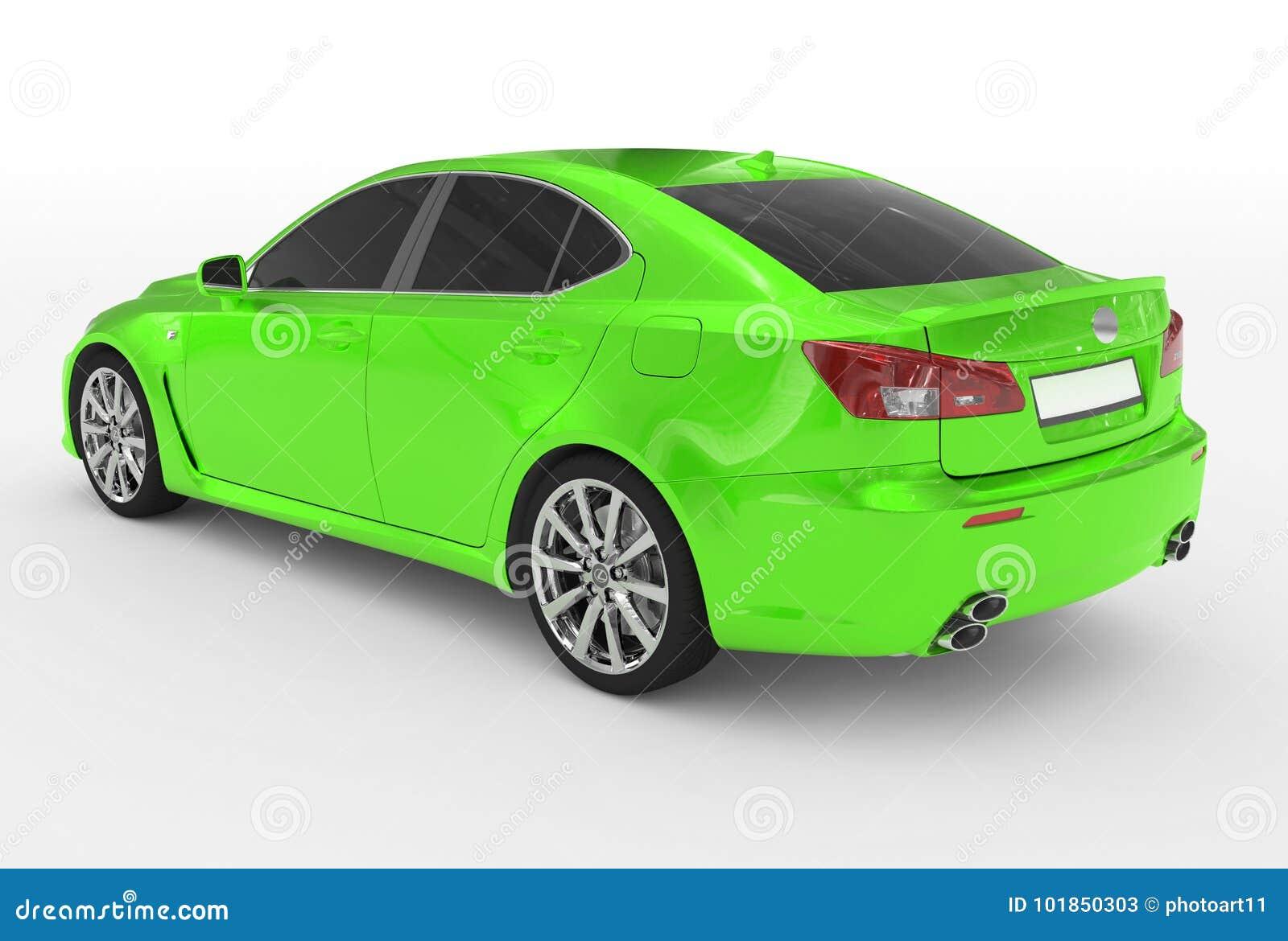 Автомобиль изолированный на бело- зеленой краске, подкрашиванном стекле - назад-левом si