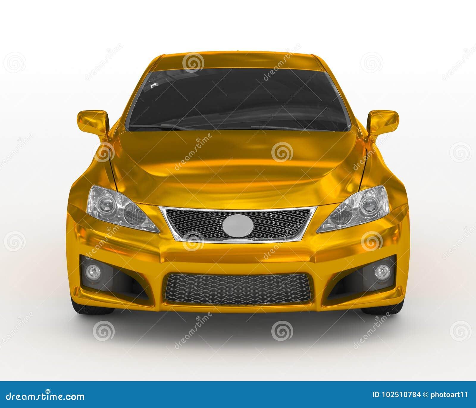 Автомобиль изолированный на бело- золотом, подкрашиванном стекле - вид спереди