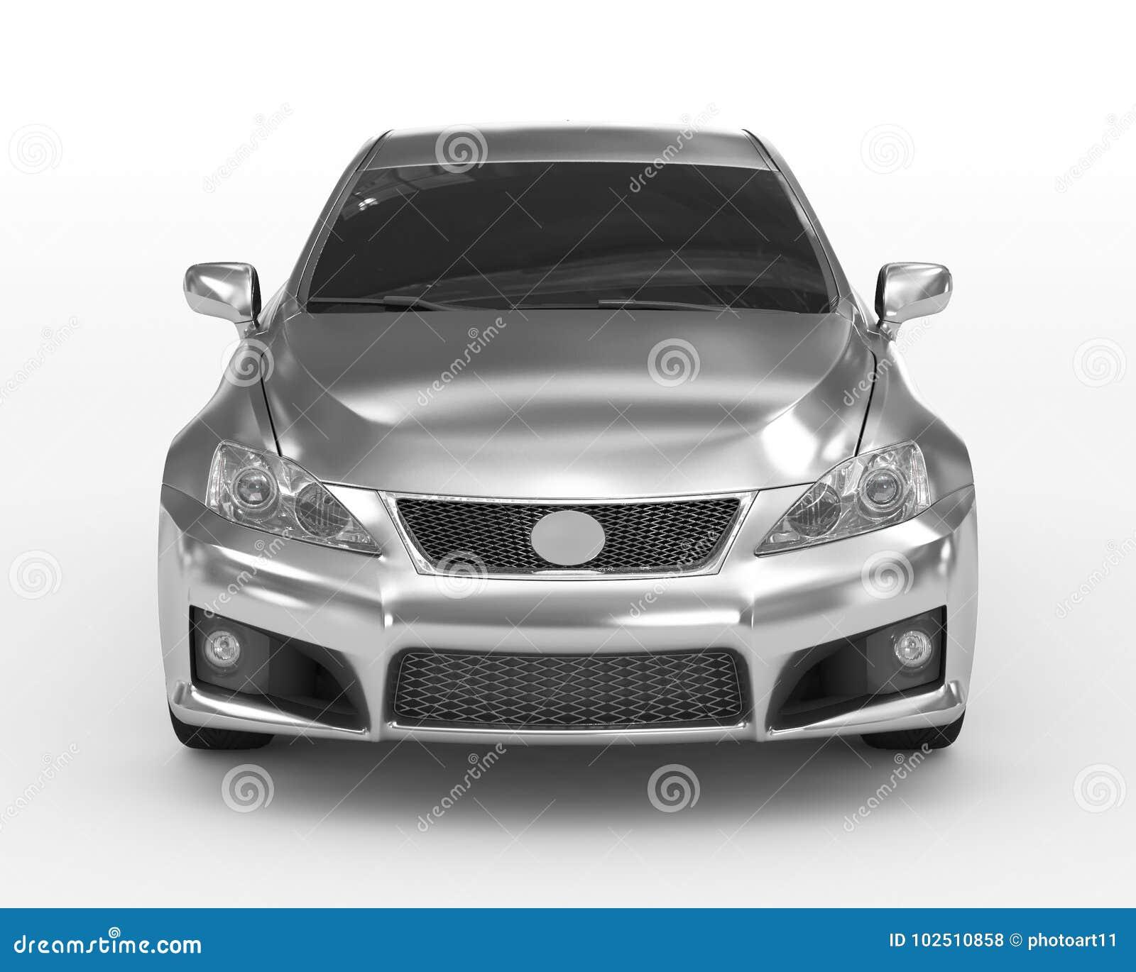 Автомобиль изолированный на бело- серебре, подкрашиванном стекле - вид спереди