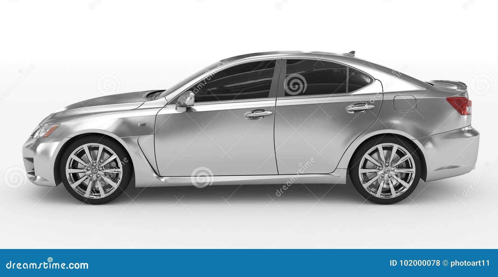 Автомобиль изолированный на бело- серебре, подкрашиванном стекле - выведенном взгляде со стороны