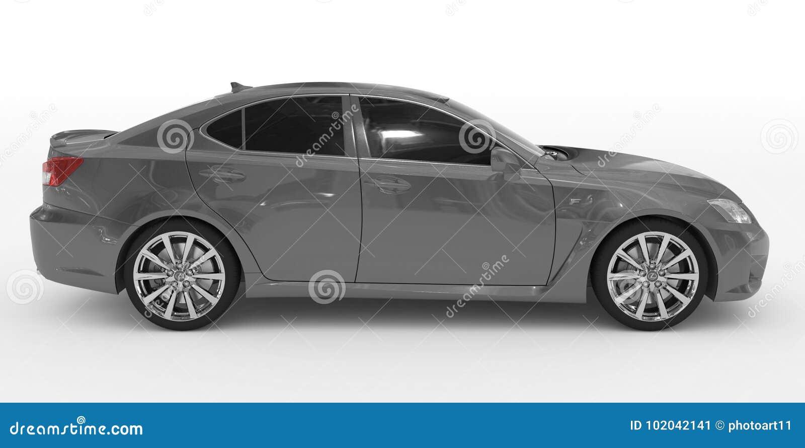 Автомобиль изолированный на бело- серой краске, подкрашиванном стекле - правильной позиции VI