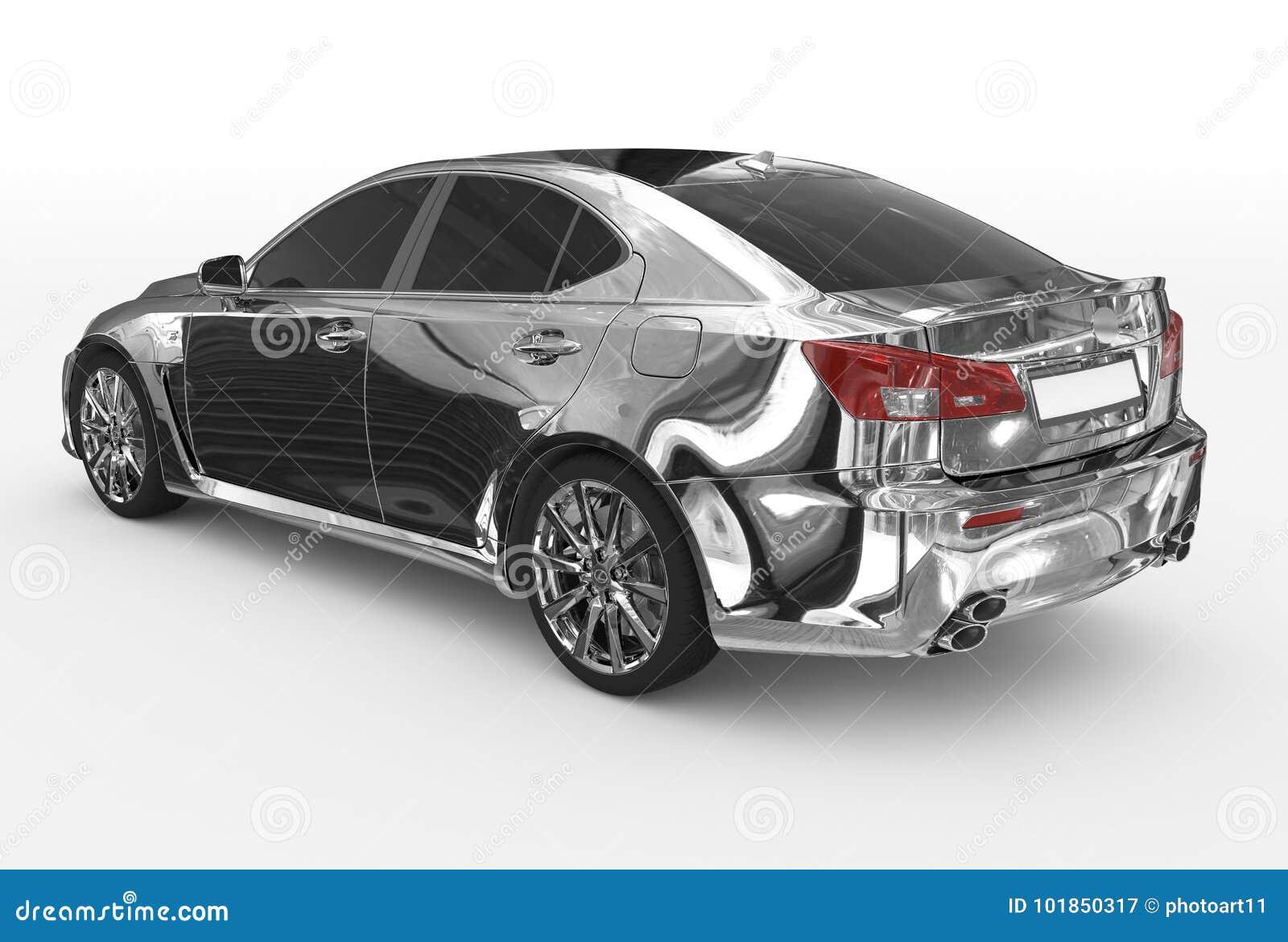 Автомобиль изолированный на бело- хроме, подкрашиванном стекле - назад-левой стороне VI