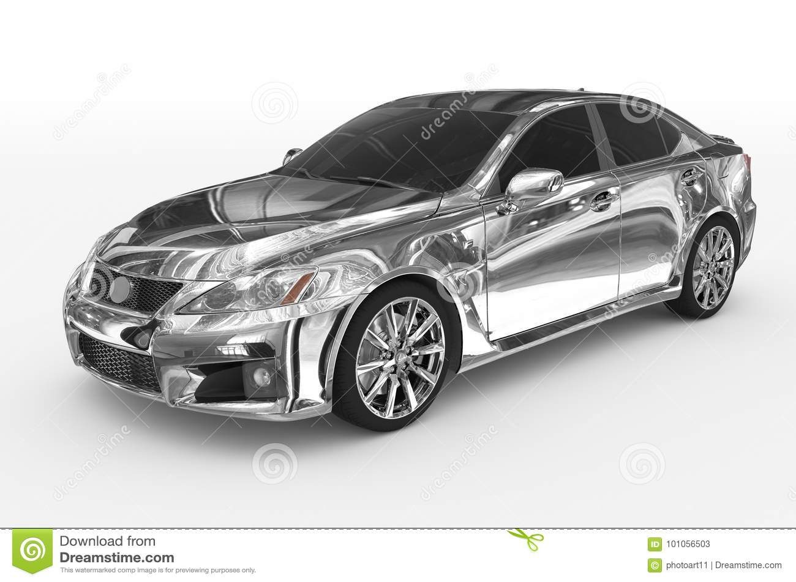 Автомобиль изолированный на бело- хроме, подкрашиванном стекле - передн-левой стороне v