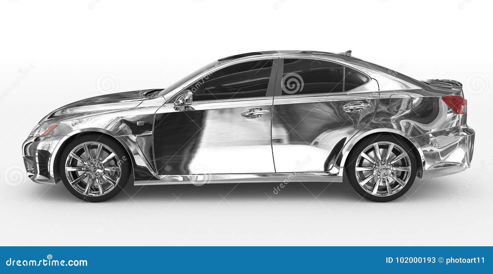 Автомобиль изолированный на бело- хроме, подкрашиванном стекле - выведенном взгляде со стороны
