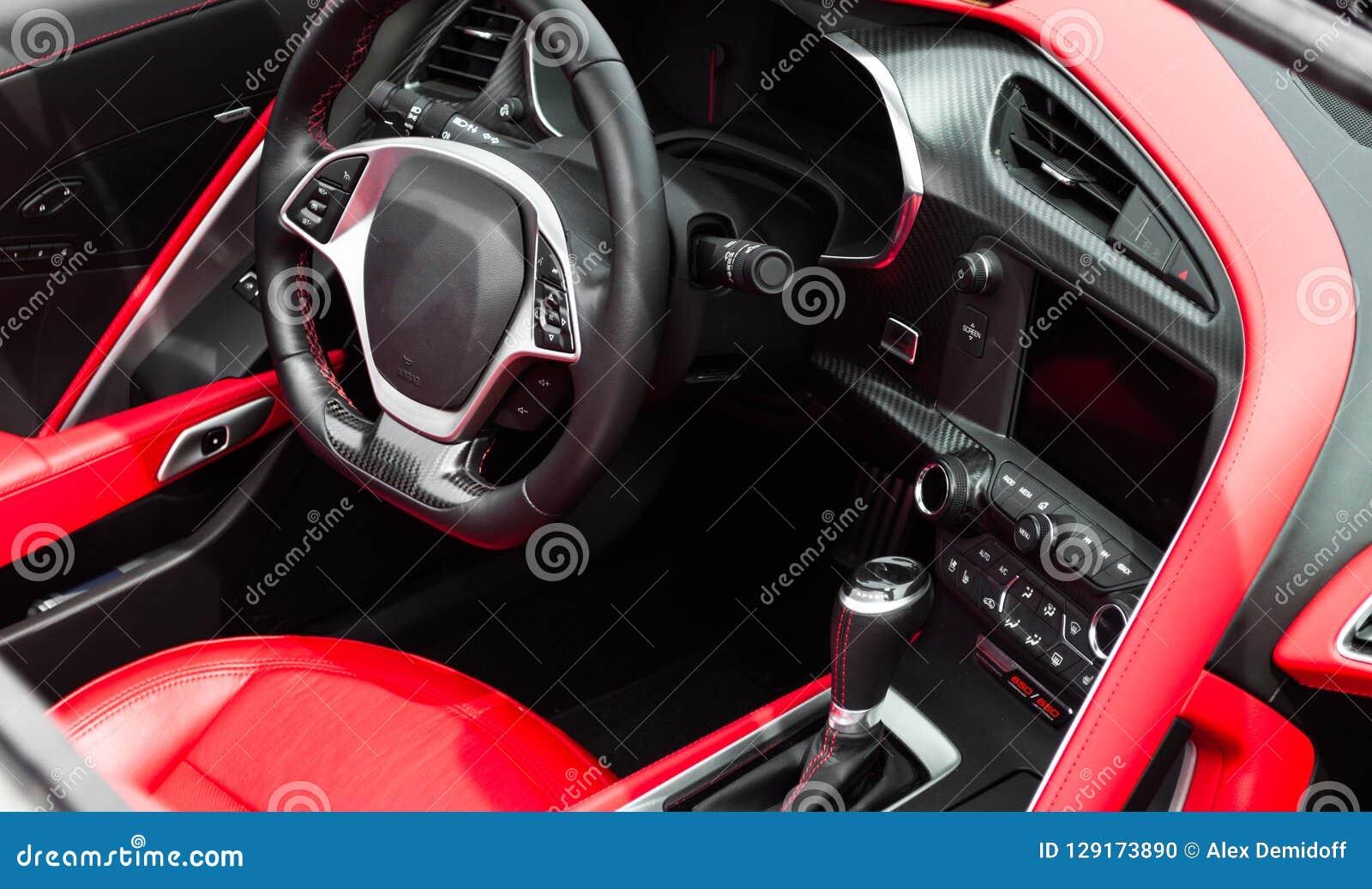 Автомобиль спорт салона Рулевое колесо, приборная панель Кожа, красный шить