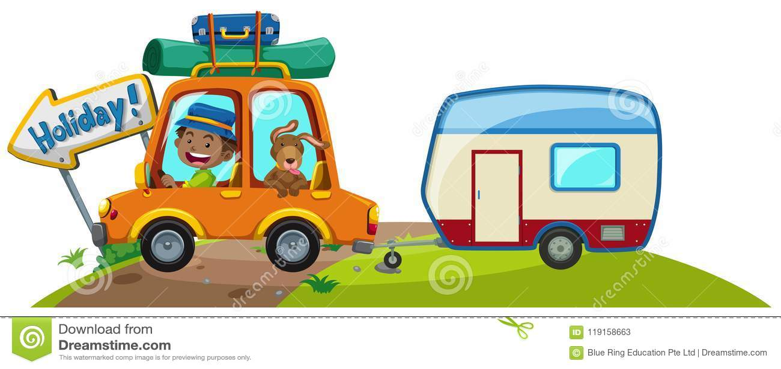 Автомобиль с багажом и караваном