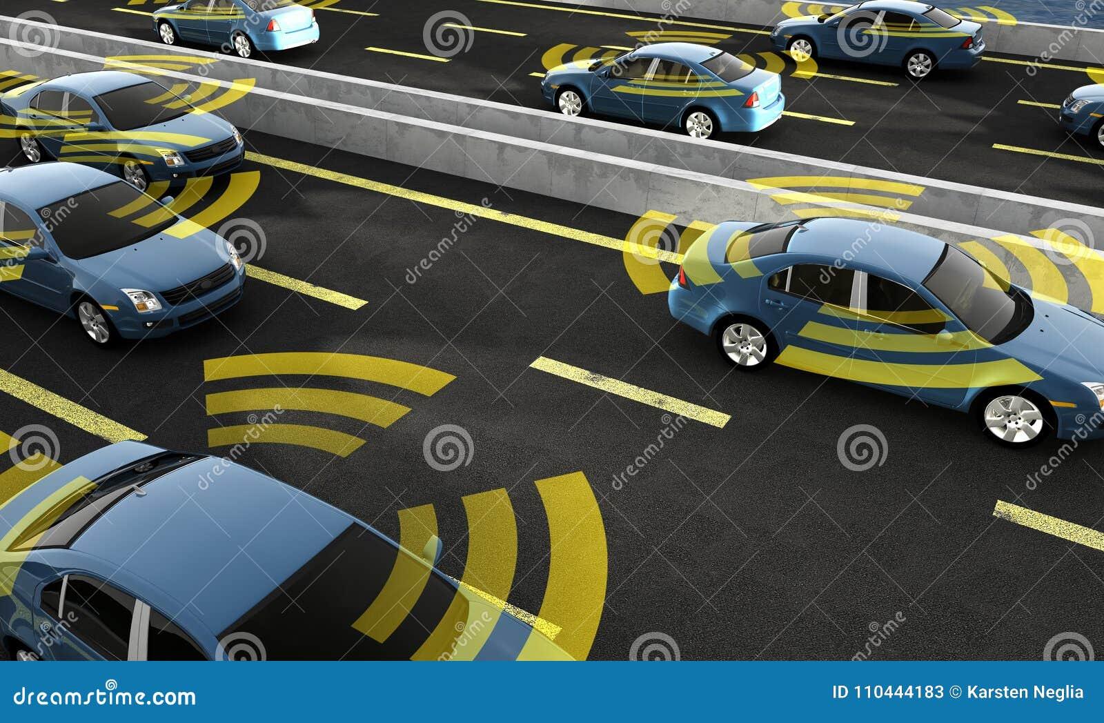 Автономные автомобили на дороге с видимым соединением