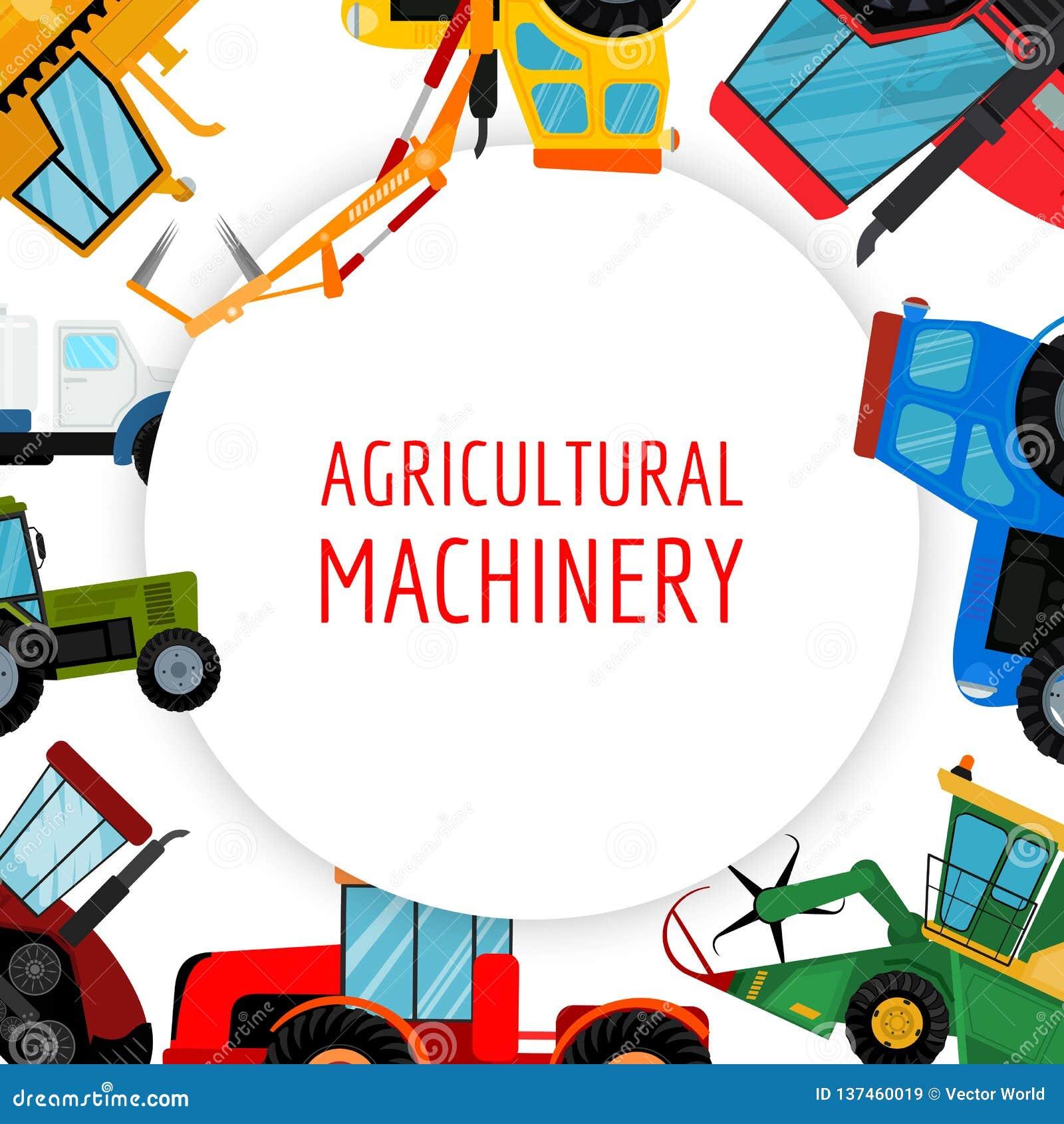Аграрная иллюстрация вектора кораблей и машин фермы Тракторы, жатки, совмещают Дело земледелия
