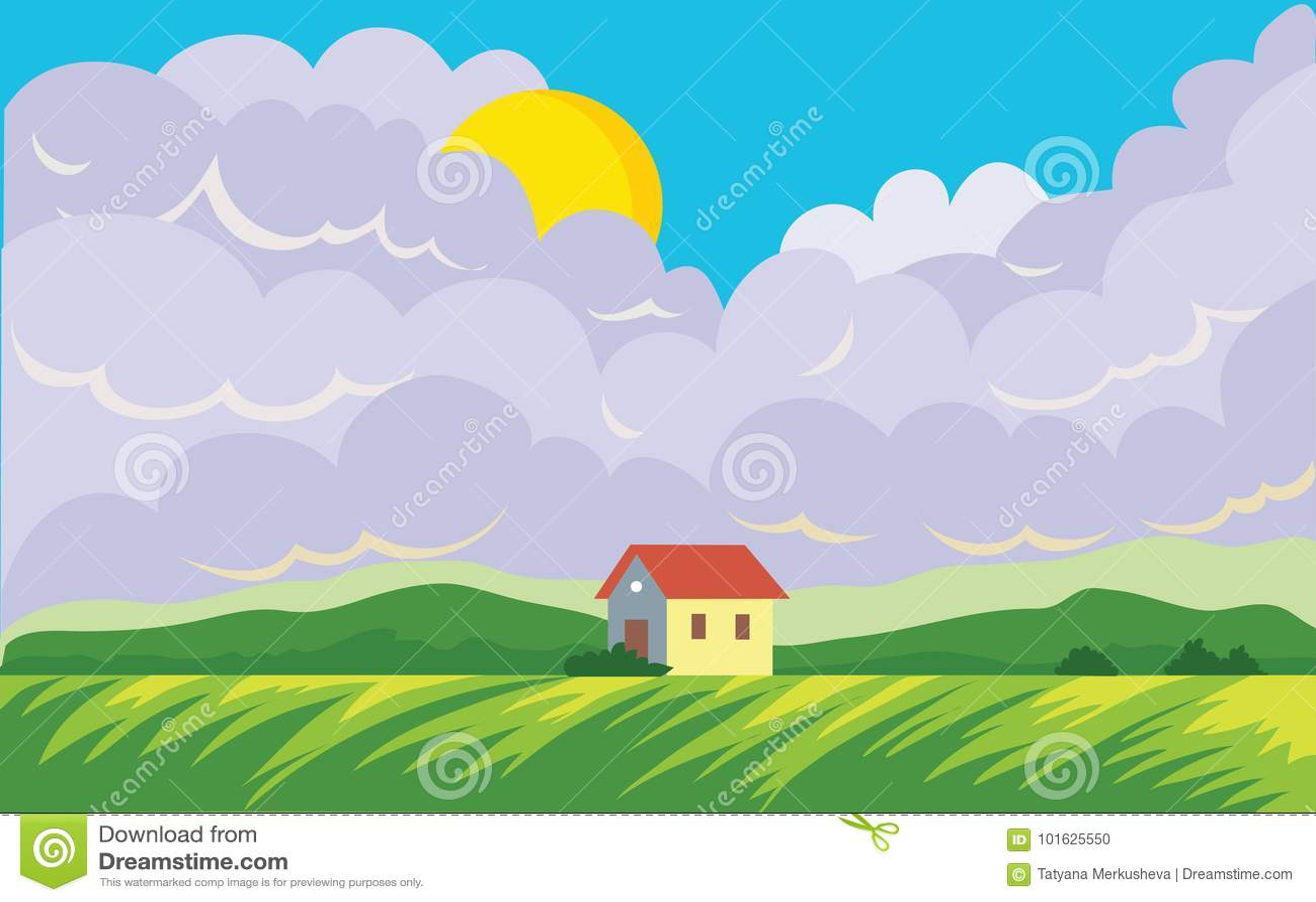 Аграрный ландшафт с домом ` s фермера Облака поля и кумулюса с солнцем Иллюстрация ландшафта вектора