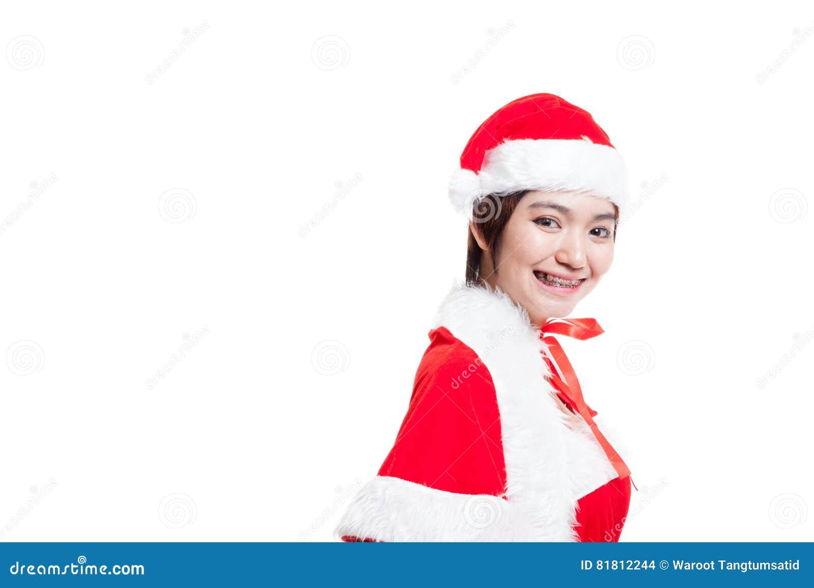 Азиатская девушка Санта Клауса рождества