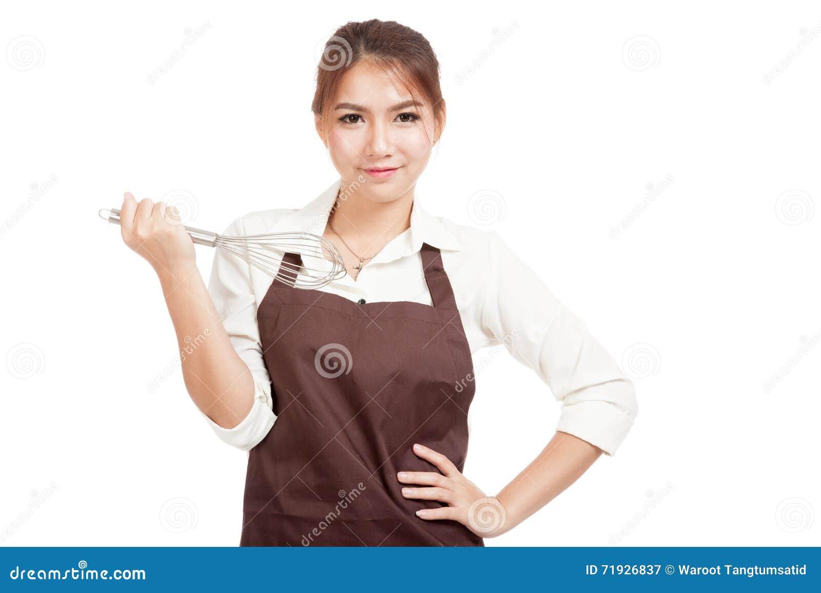 Азиатская девушка хлебопека с юркнет