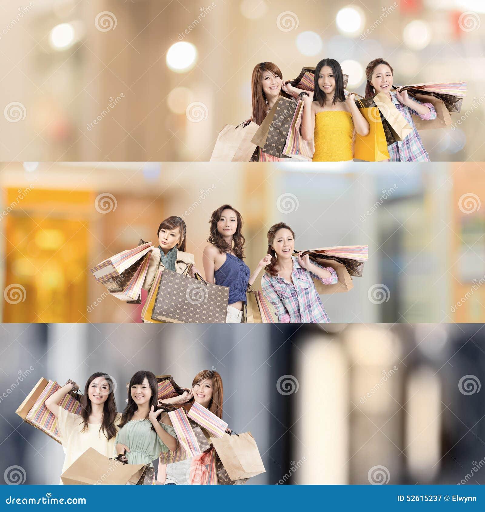 азиатская женщина покупкы