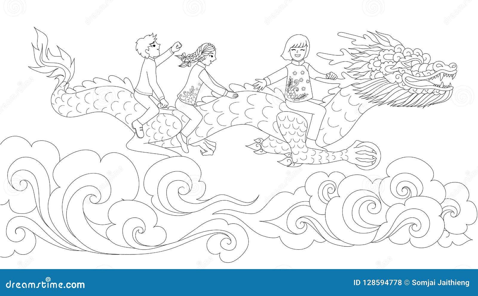 азиатские дети в традиционном платье ехать китайский дракон