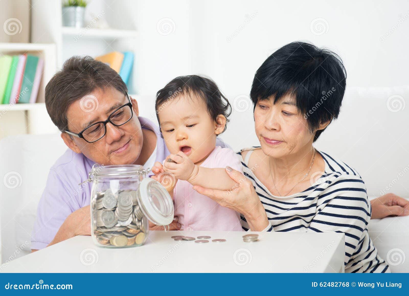 Азиатские деньги сбережений семьи крытые