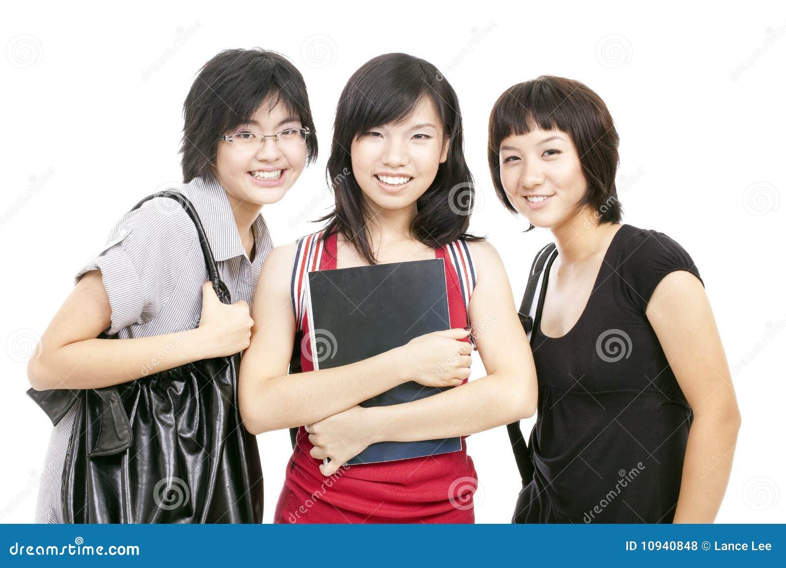 азиатский подросток школы девушок gather китайца