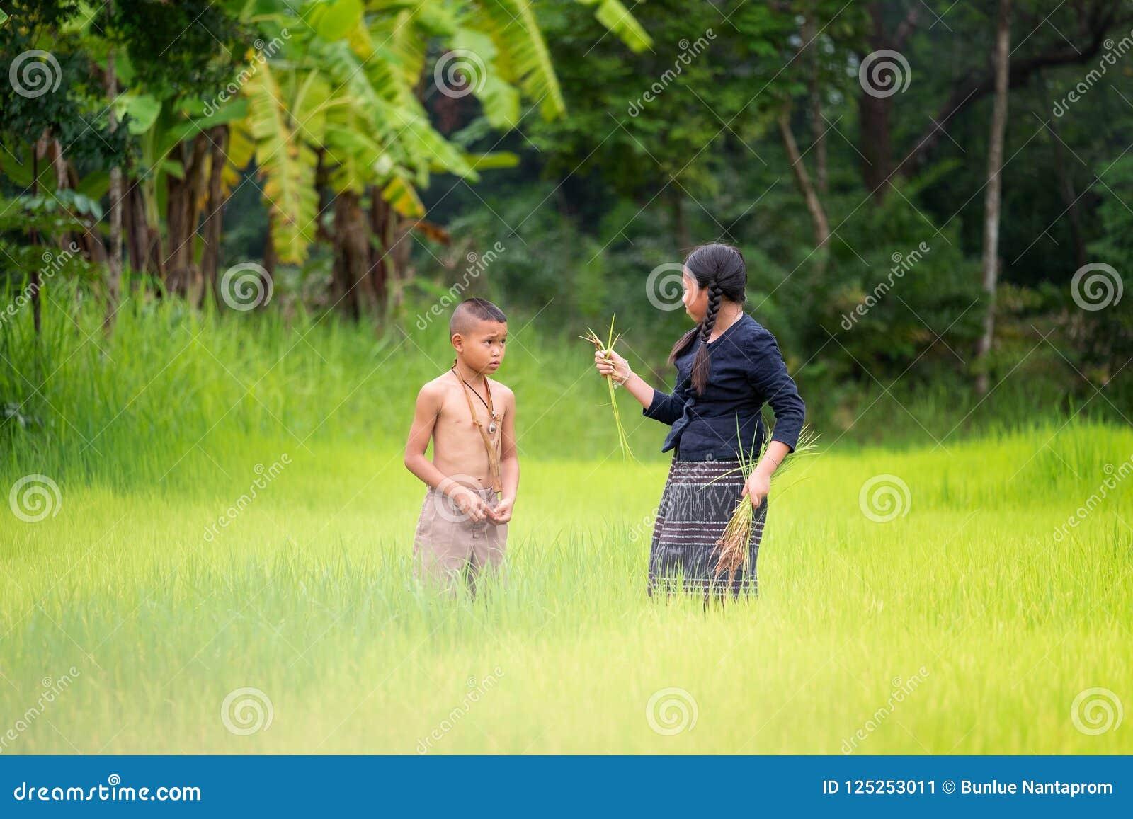 Азиатский фермер детей на зеленом поле риса Концепция экологичности на th
