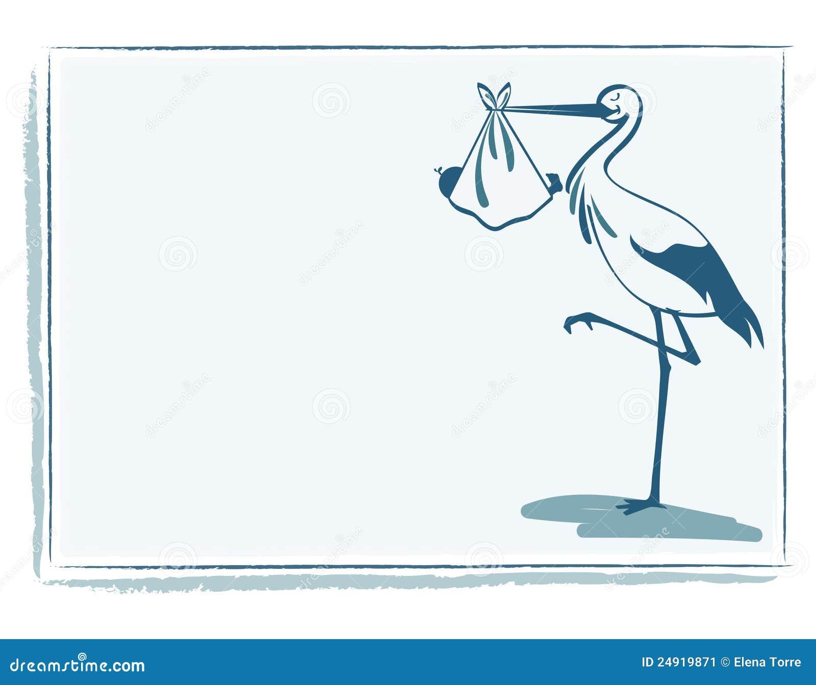 Изображение поздравительной открытки с изображением аиста