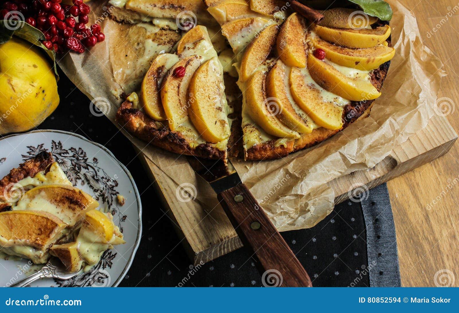 Айва флана с циннамоном и клюквами custard Печенье Shortcrust Пирог в разделе Чай