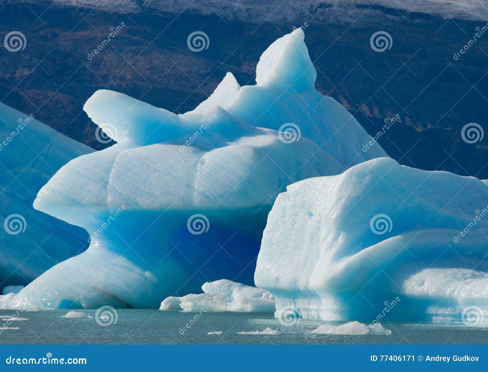 Айсберги в воде, леднике Perito Moreno ареальных