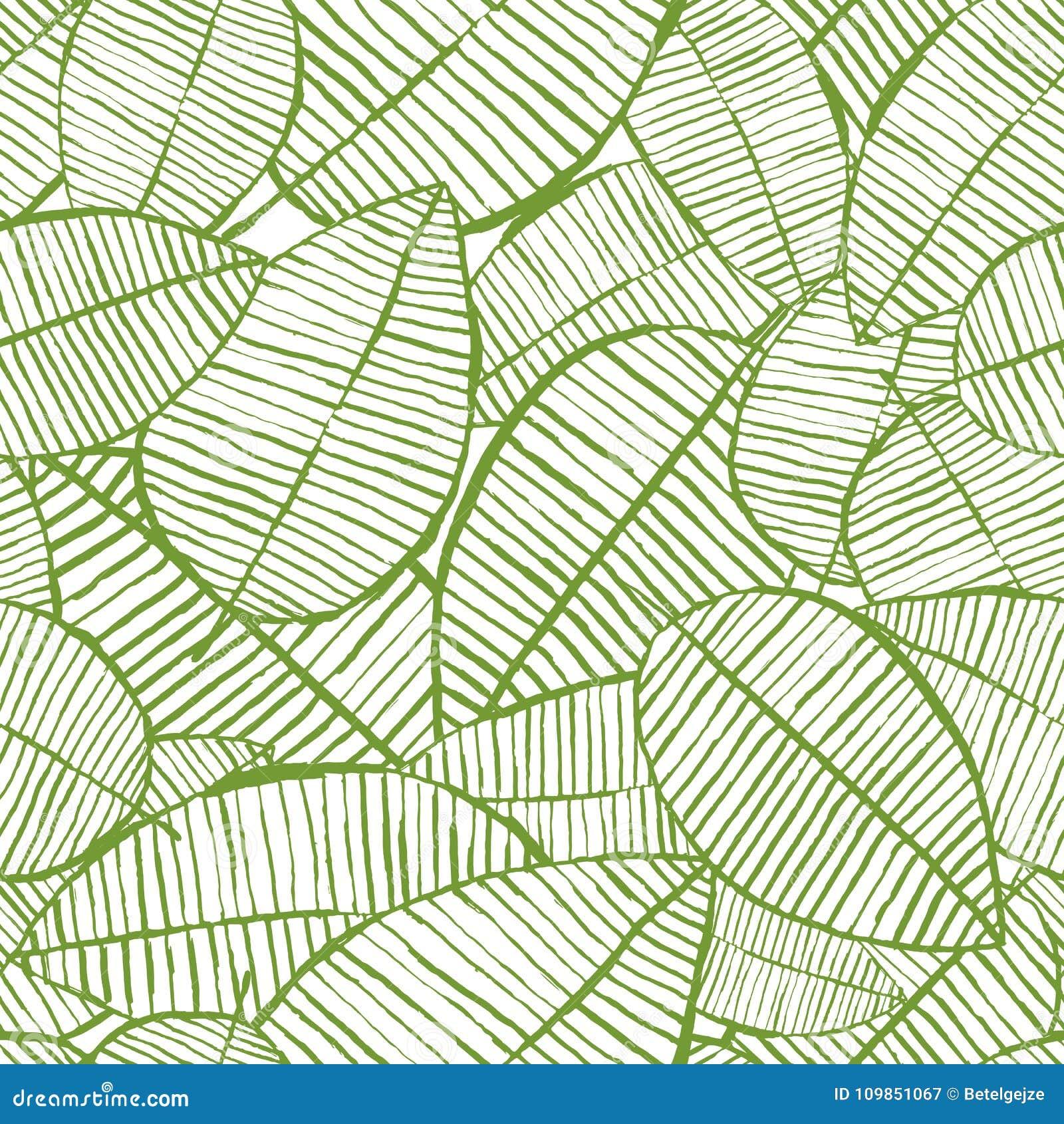 Акварель вектора безшовная выходит картина Зеленая и белая предпосылка весны Флористический дизайн для печати ткани моды